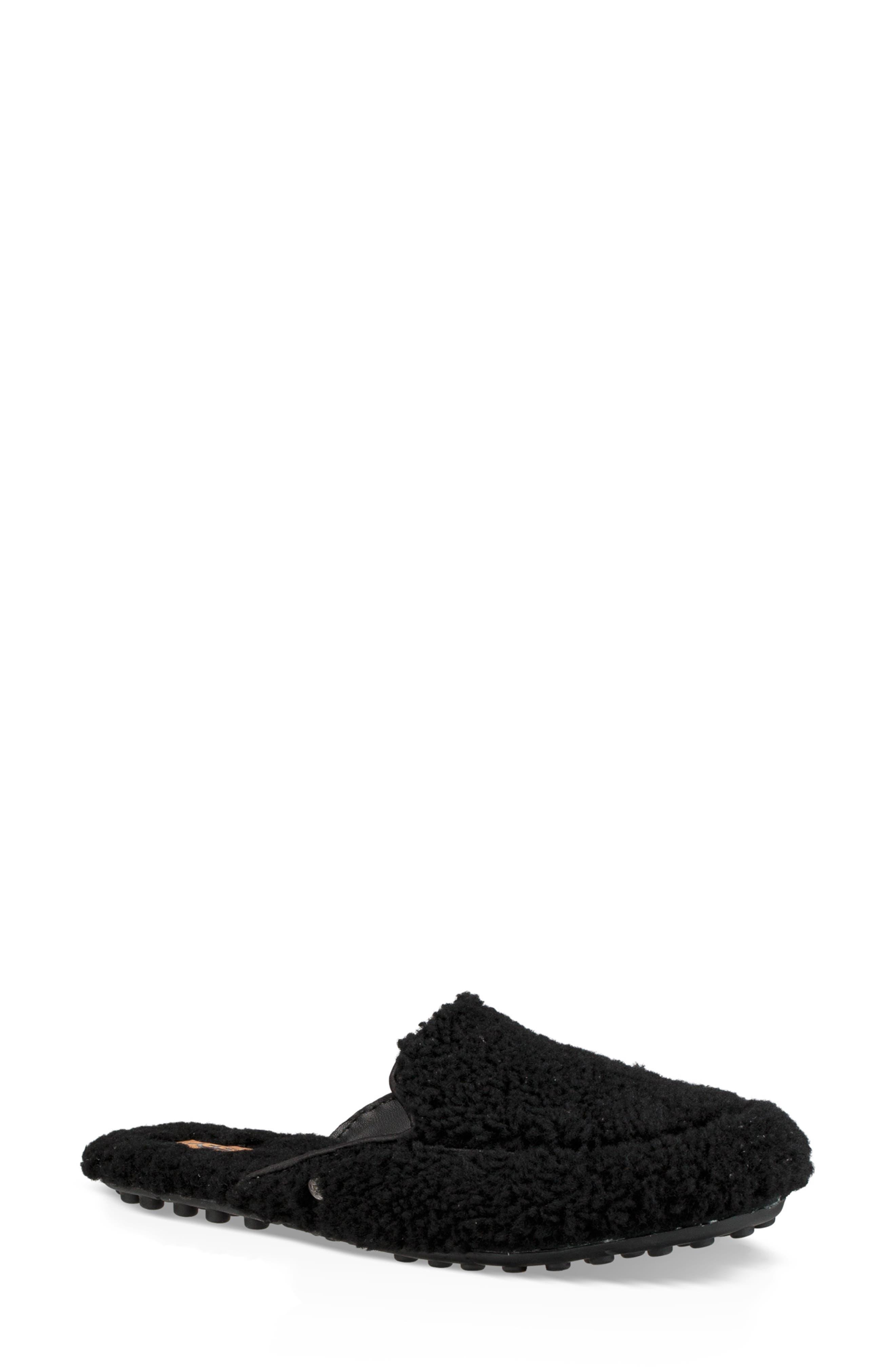 Lane Fluff Genuine Shearling Loafer Slipper,                             Main thumbnail 1, color,                             BLACK