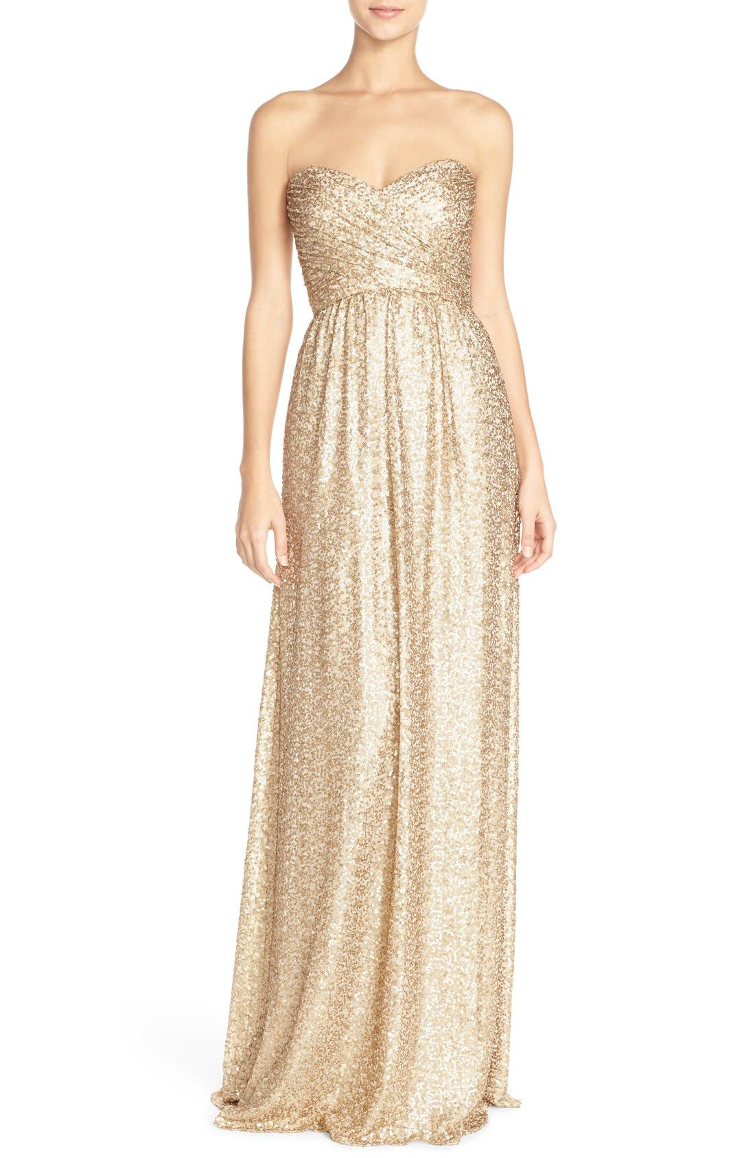 'London' Sequin Tulle Strapless Column Gown,                             Main thumbnail 1, color,                             710