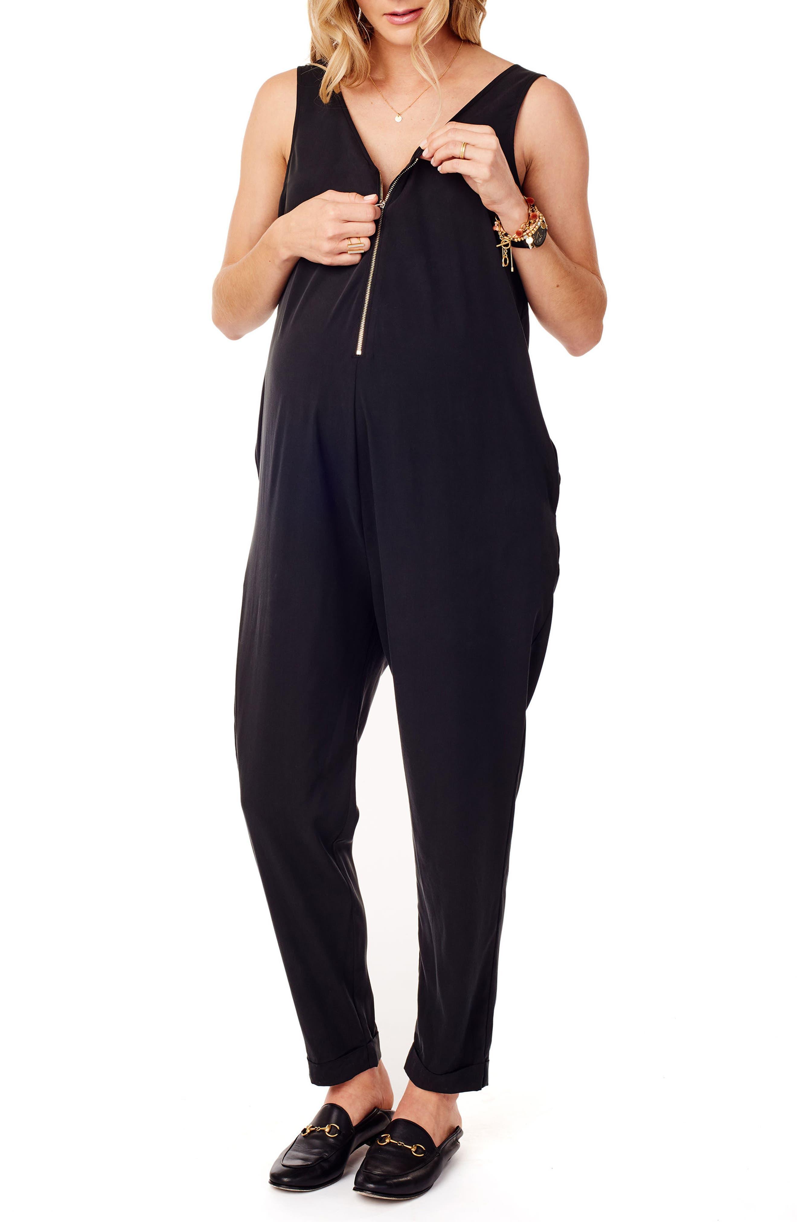Zip Front Maternity/Nursing Jumpsuit,                             Alternate thumbnail 3, color,                             JET BLACK