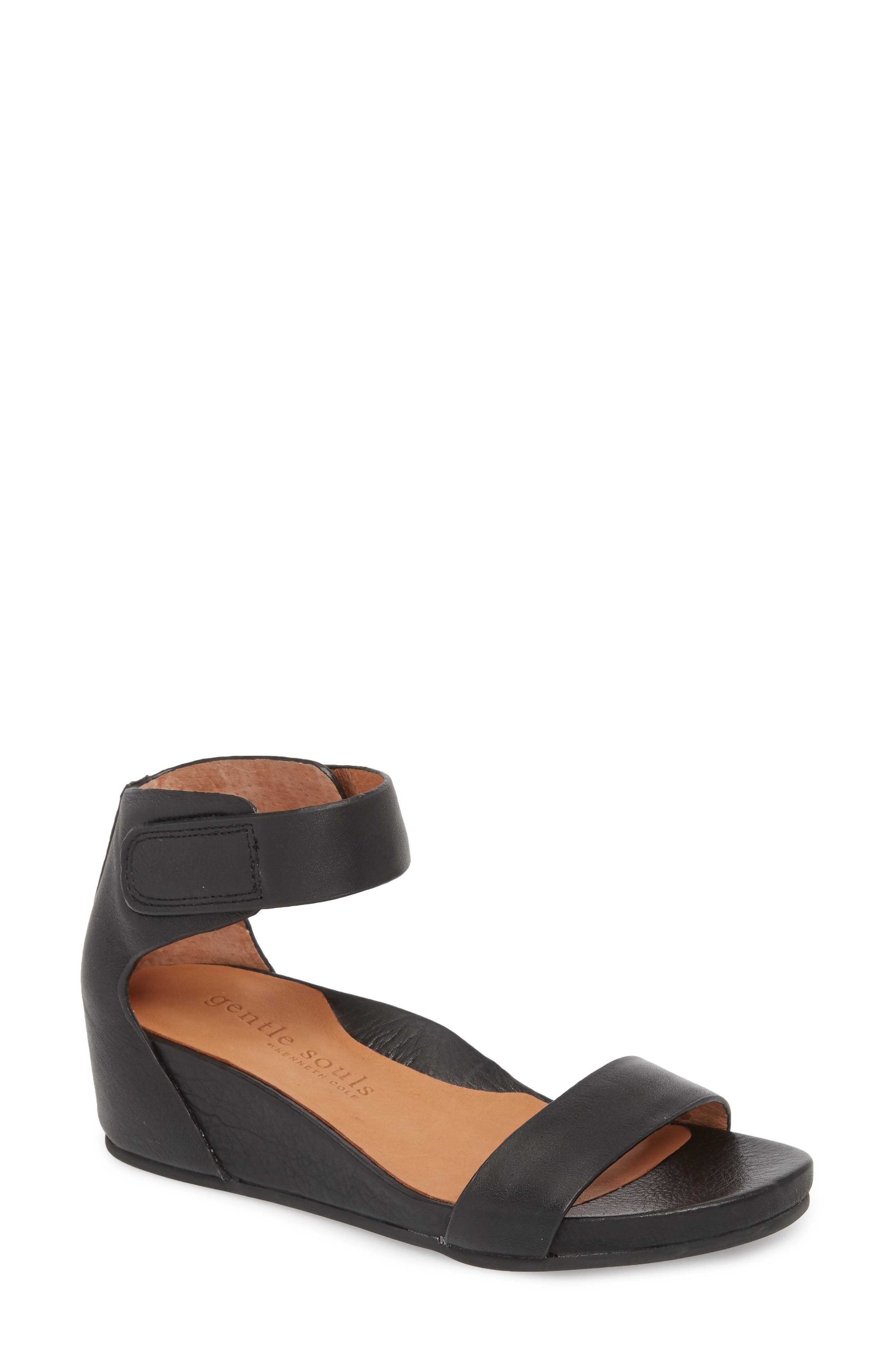 by Kenneth Cole Gianna Wedge Sandal,                             Main thumbnail 1, color,                             BLACK LEATHER