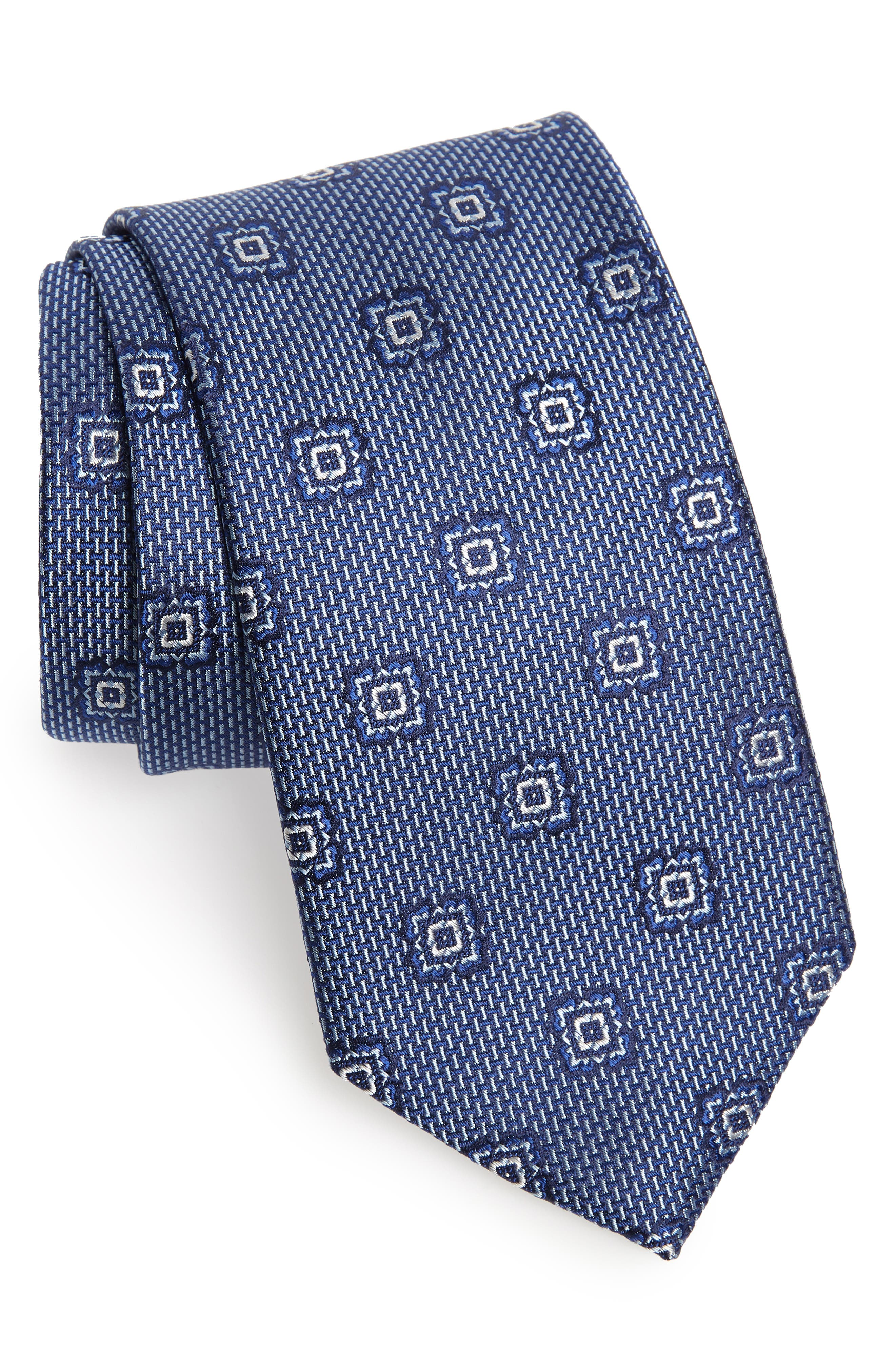 Medallion Silk Tie,                         Main,                         color, BLUE