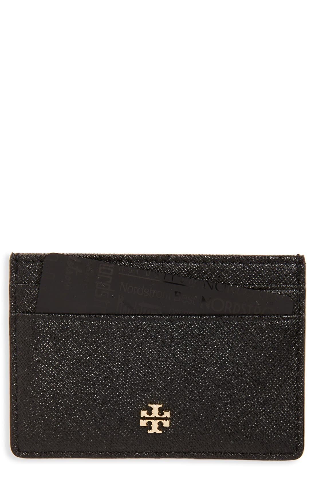 'Robinson' Slim Saffiano Leather Card Case,                             Main thumbnail 1, color,                             001