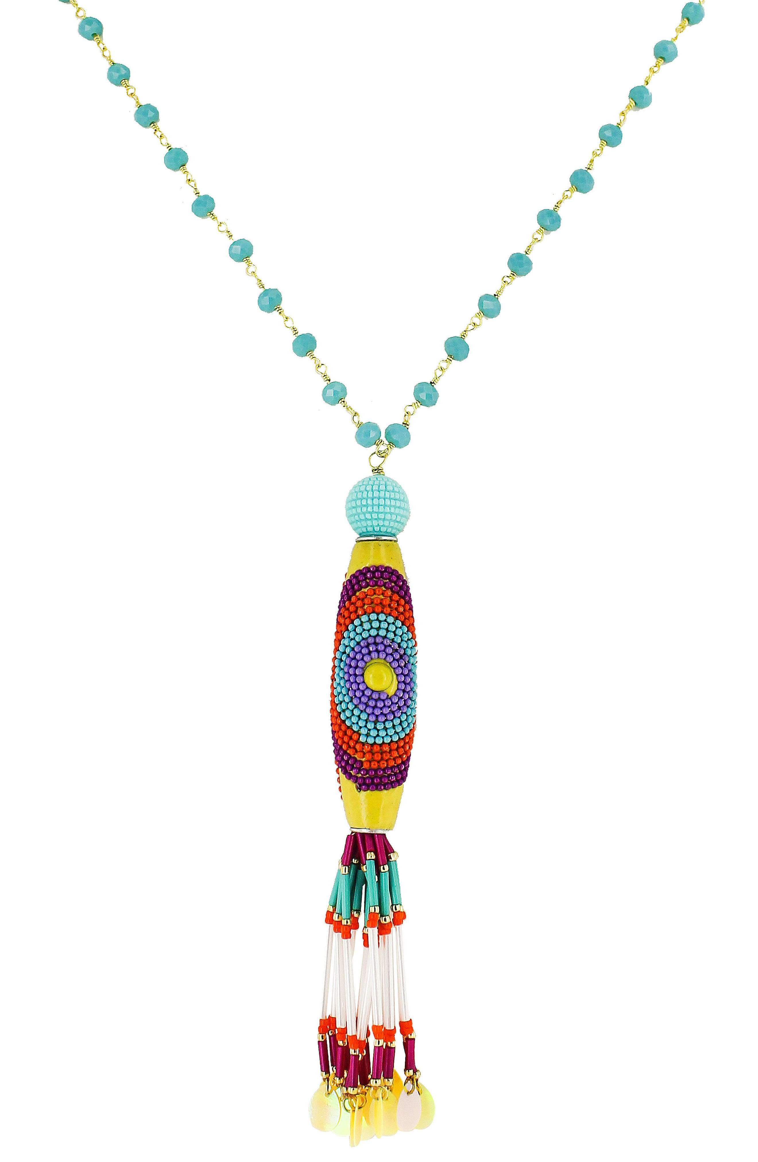 Crystal Multi Bead Tassel Necklace,                             Main thumbnail 1, color,                             TURQUOISE/ MULTI