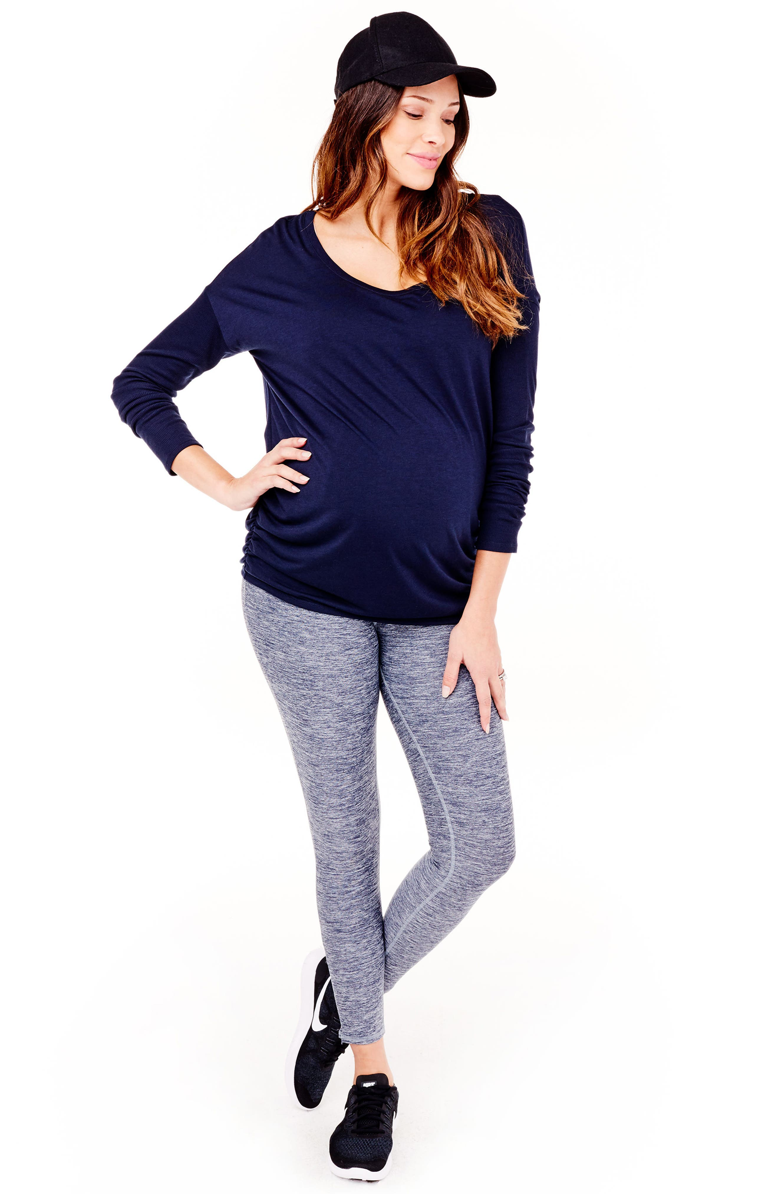 'Active' Maternity Leggings with Crossover Panel,                             Alternate thumbnail 5, color,                             417