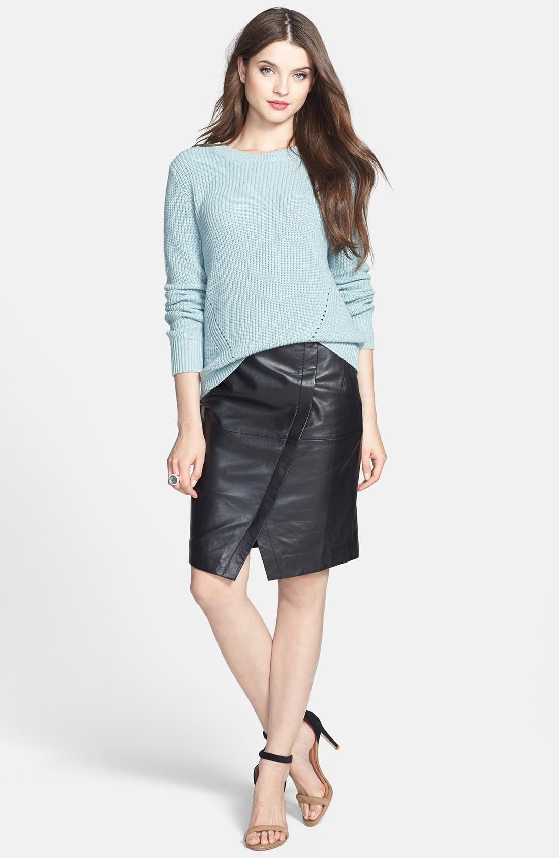 Seamed Leather Pencil Skirt,                             Alternate thumbnail 6, color,                             001