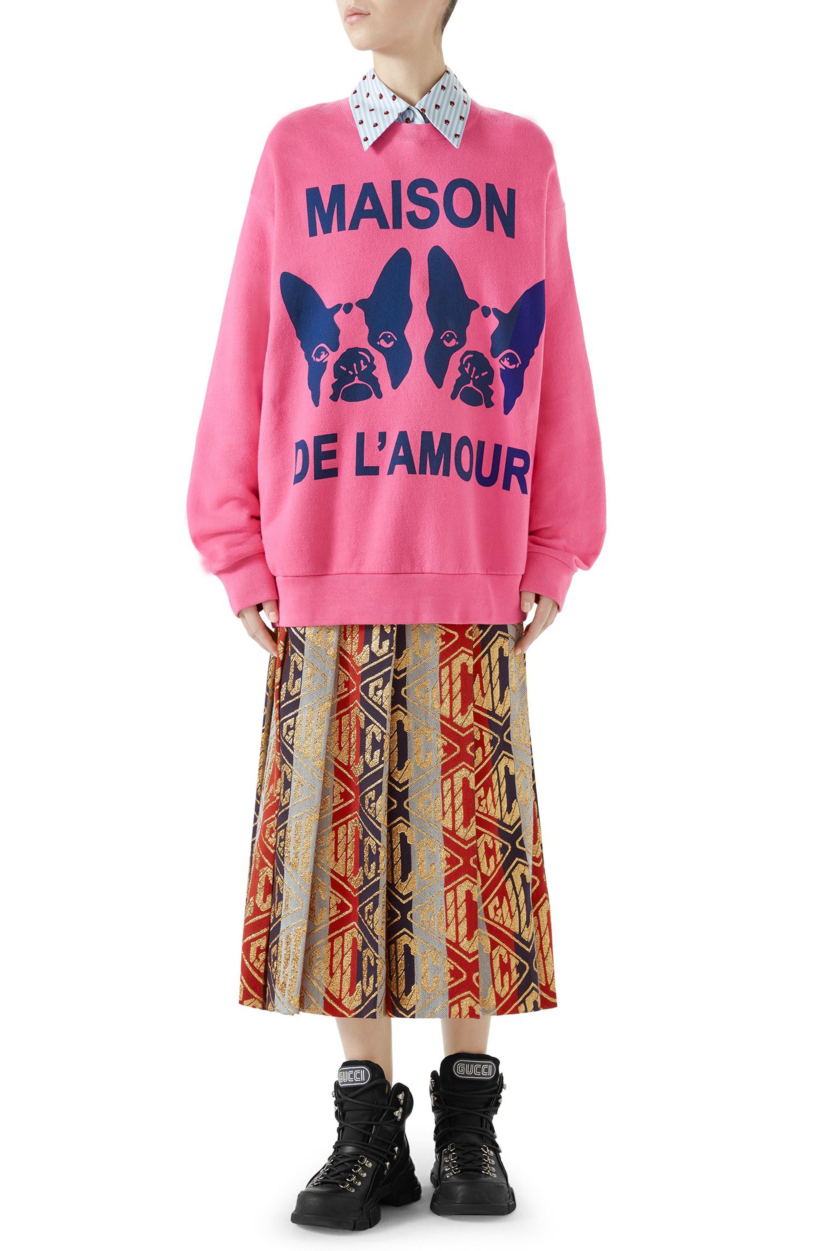 GUCCI,                             Metallic Logo Pleated Wool Blend Skirt,                             Alternate thumbnail 3, color,                             SYLVIE LUREX
