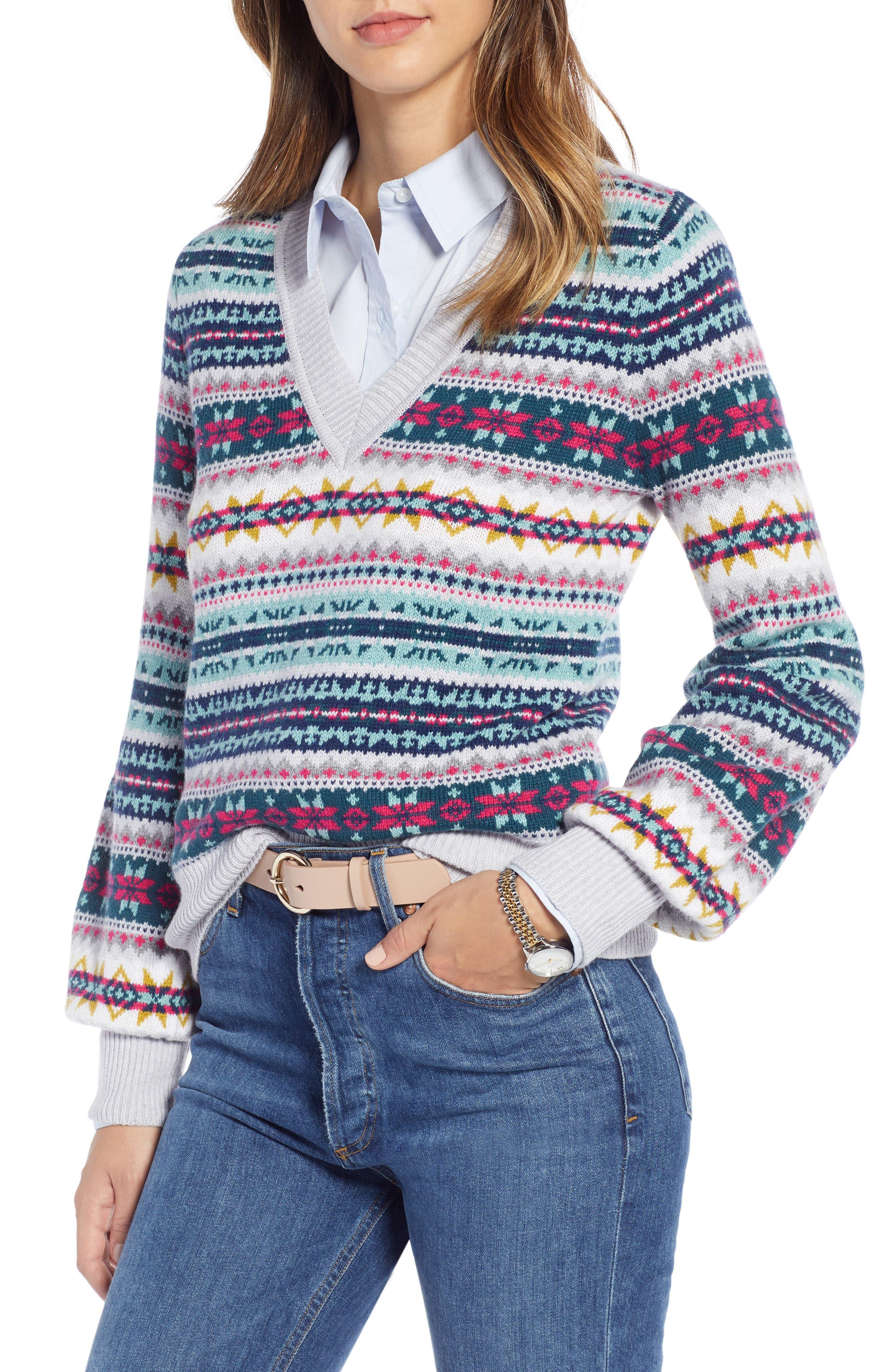 Fair Isle Cotton Wool Sweater,                         Main,                         color, 030
