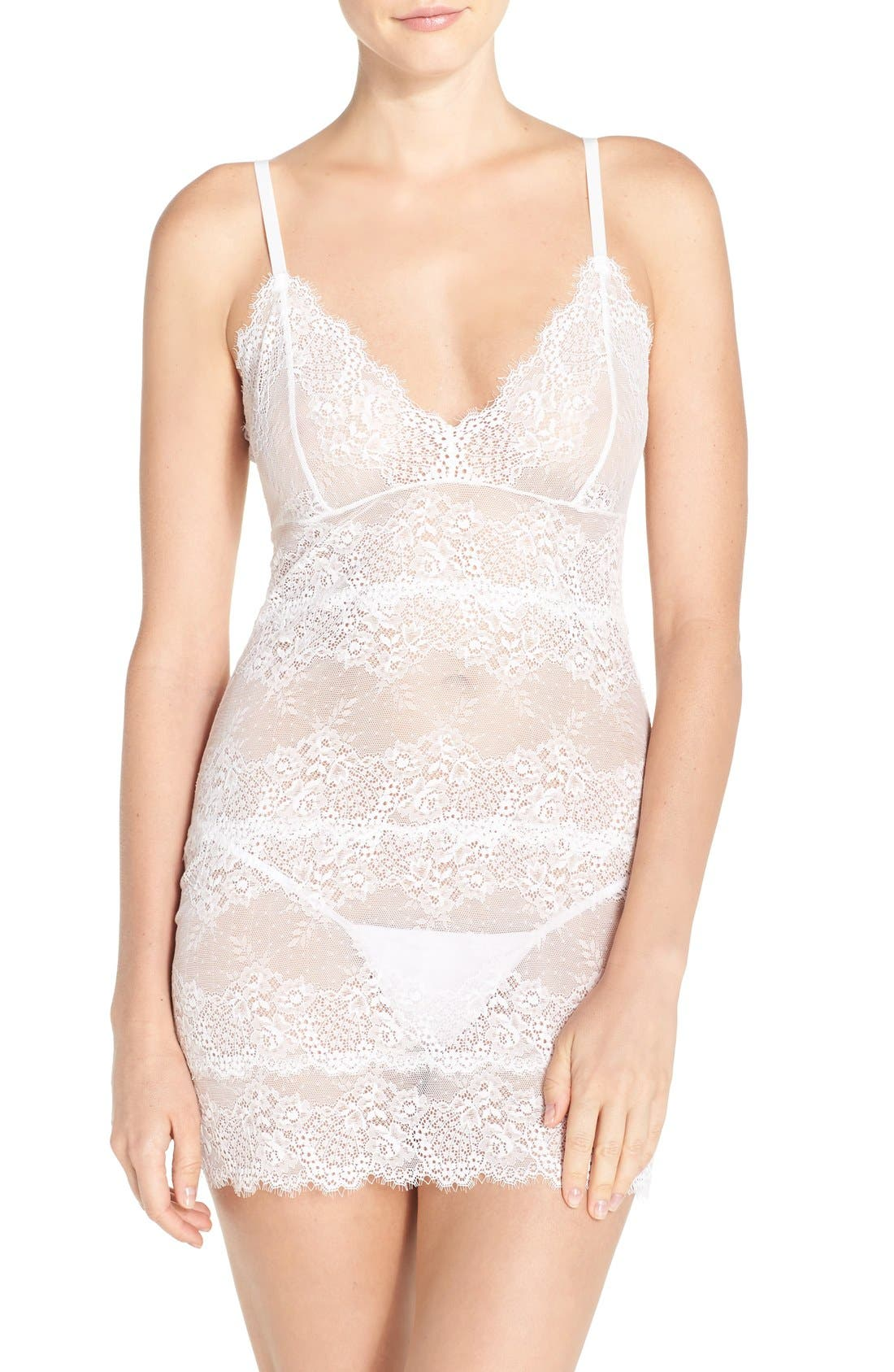 Honeymoon Too Lace Chemise,                         Main,                         color, 100