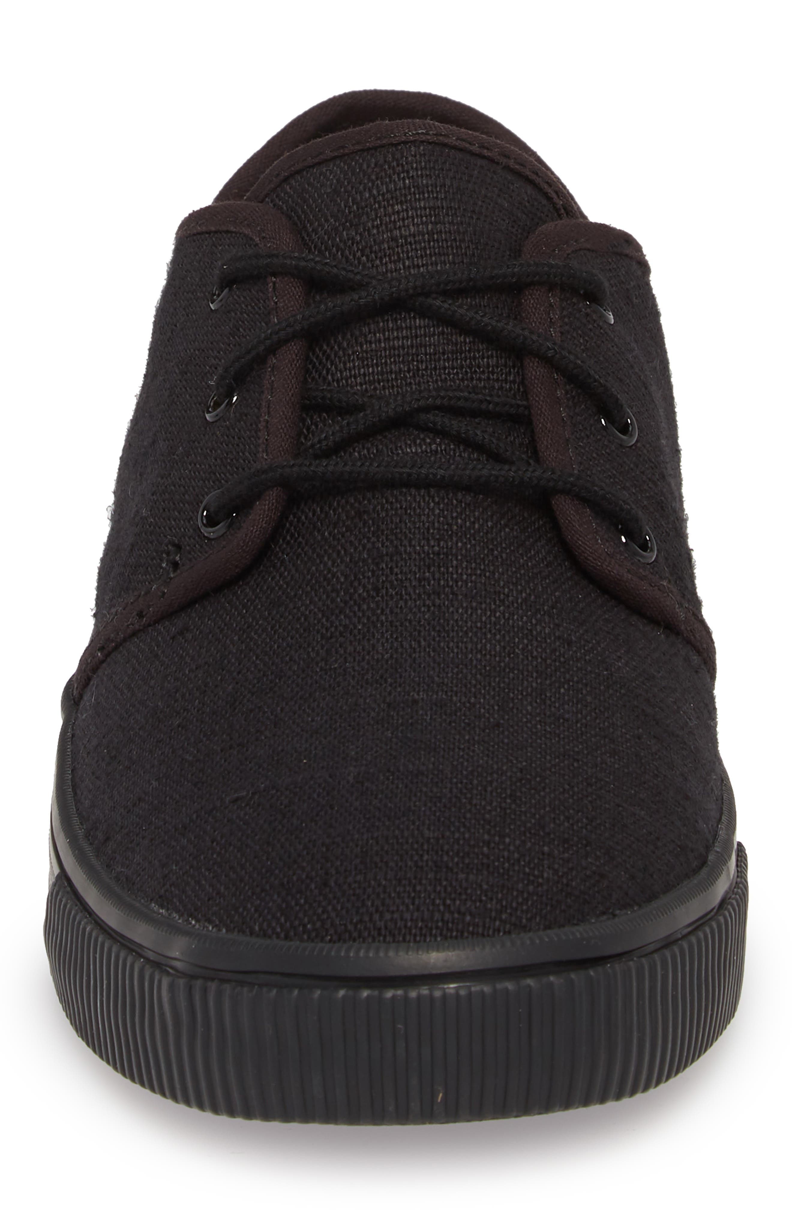 Carlo Low Top Sneaker,                             Alternate thumbnail 4, color,                             BLACK/ BLACK HERITAGE CANVAS