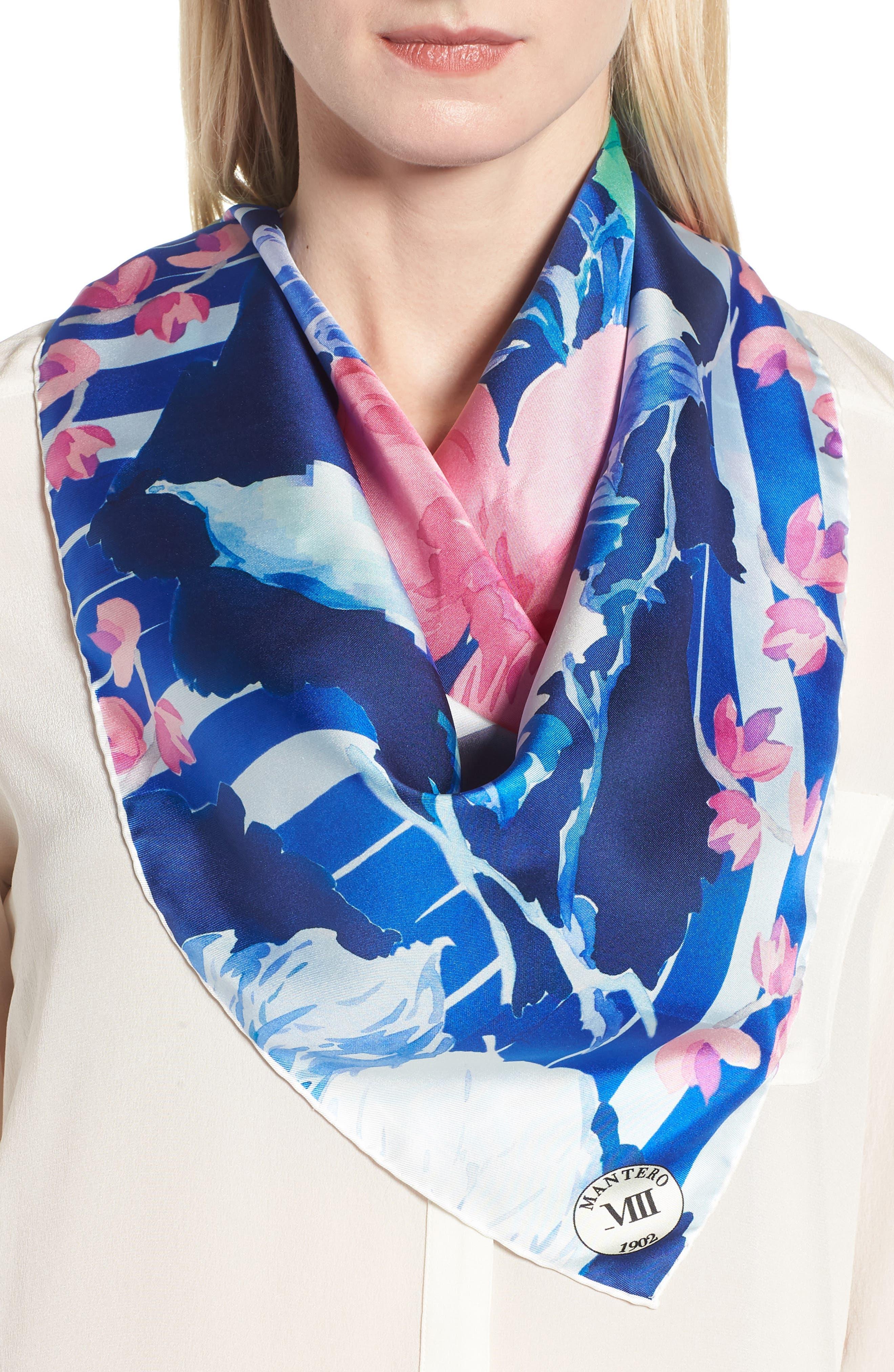 Fuori Fuoco Square Silk Scarf,                             Alternate thumbnail 2, color,                             ROYAL