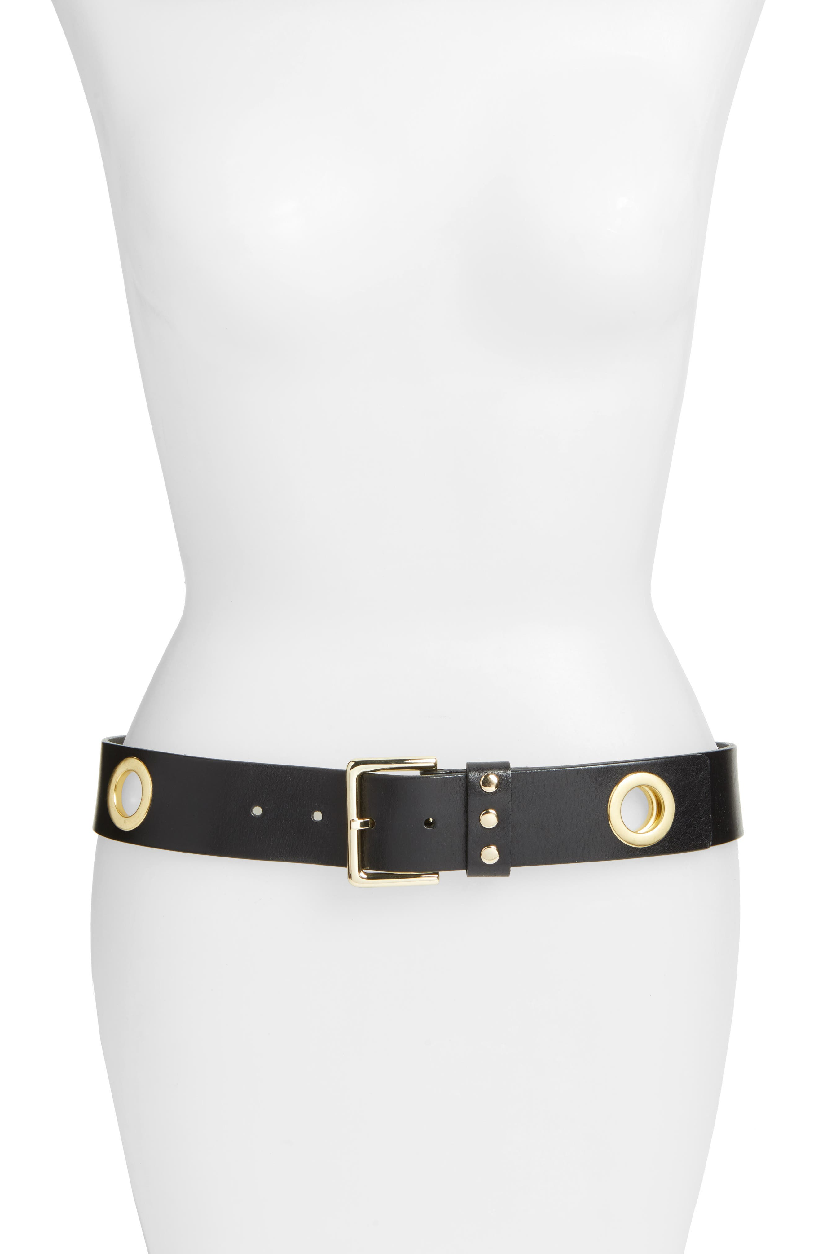 Elle Grommet Leather Belt,                         Main,                         color, 001