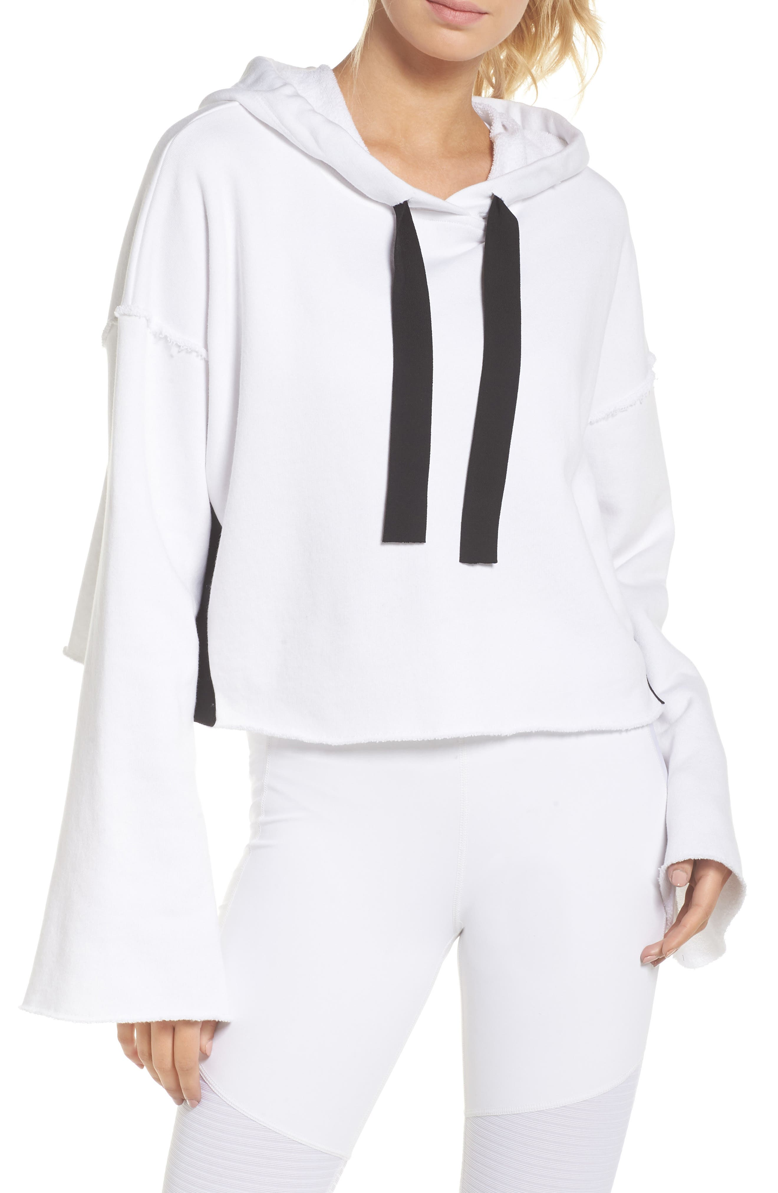 Stance Bell Sleeve Crop Hoodie,                         Main,                         color, WHITE