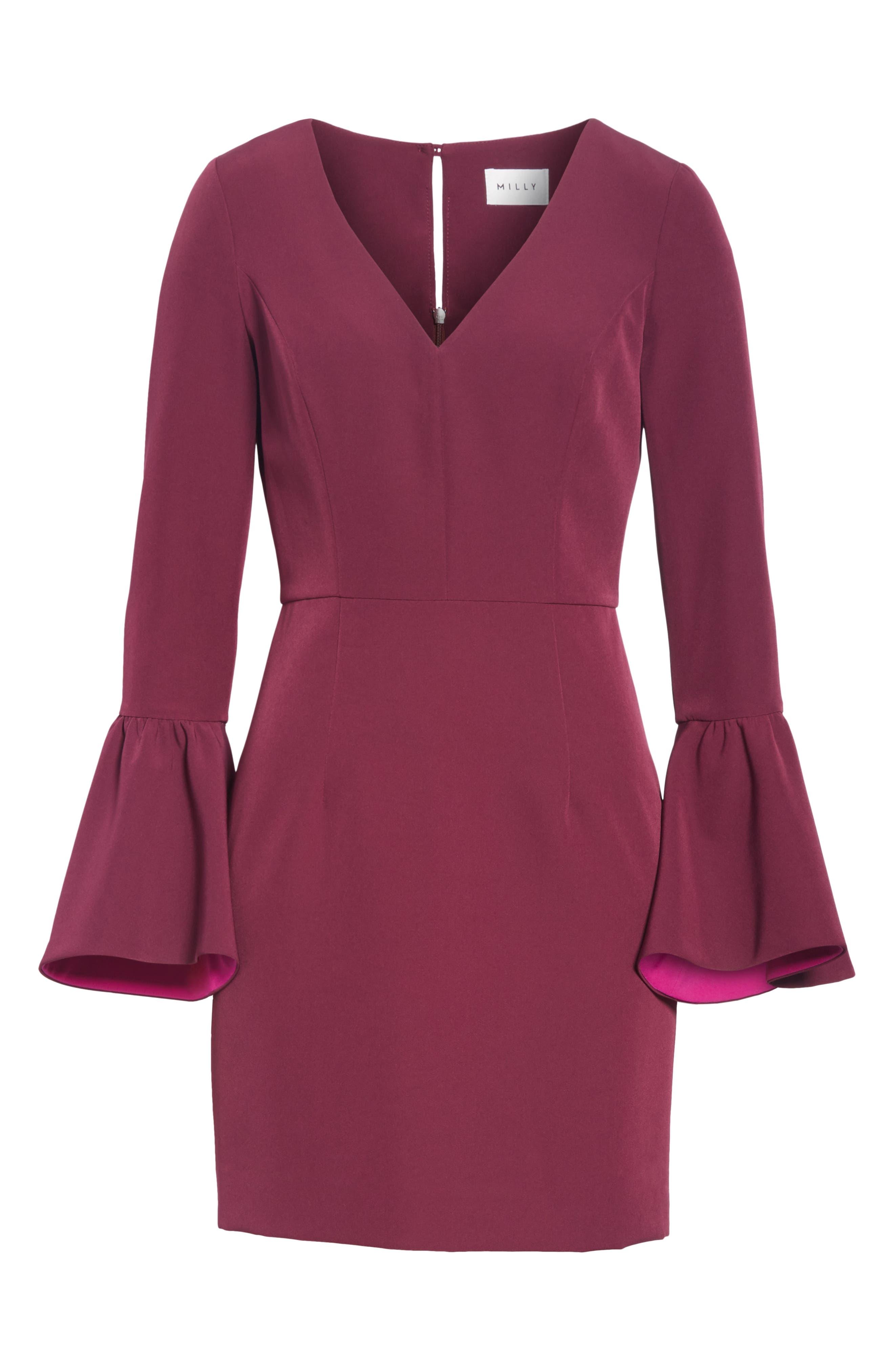 Morgan Italian Cady Bell Sleeve Mini Dress,                             Alternate thumbnail 6, color,                             500