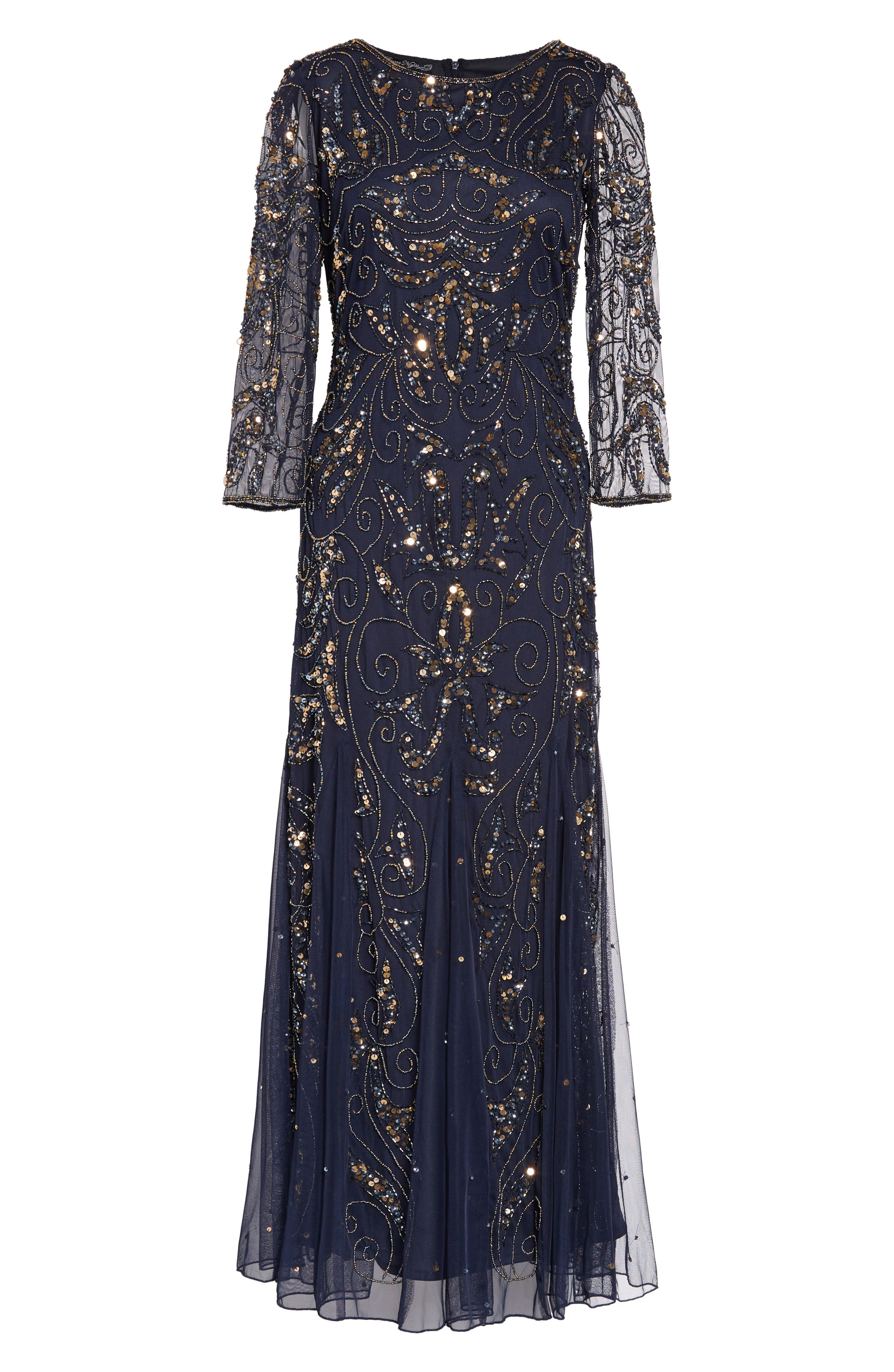 1930s Dresses | 30s Art Deco Dress Pisarro Nights Embellished Mesh Gown Size 14P - Blue $218.00 AT vintagedancer.com