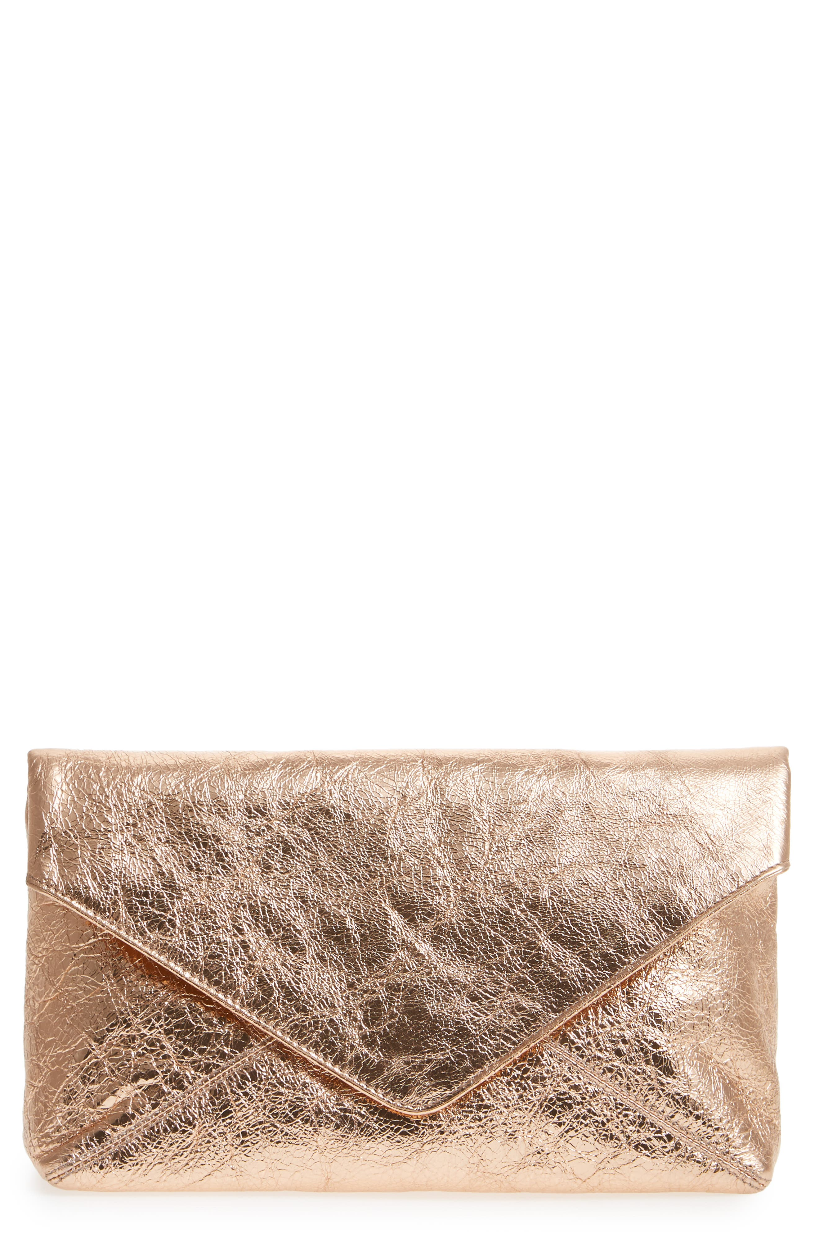Crinkle Metallic Leather Envelope Clutch,                         Main,                         color, 650