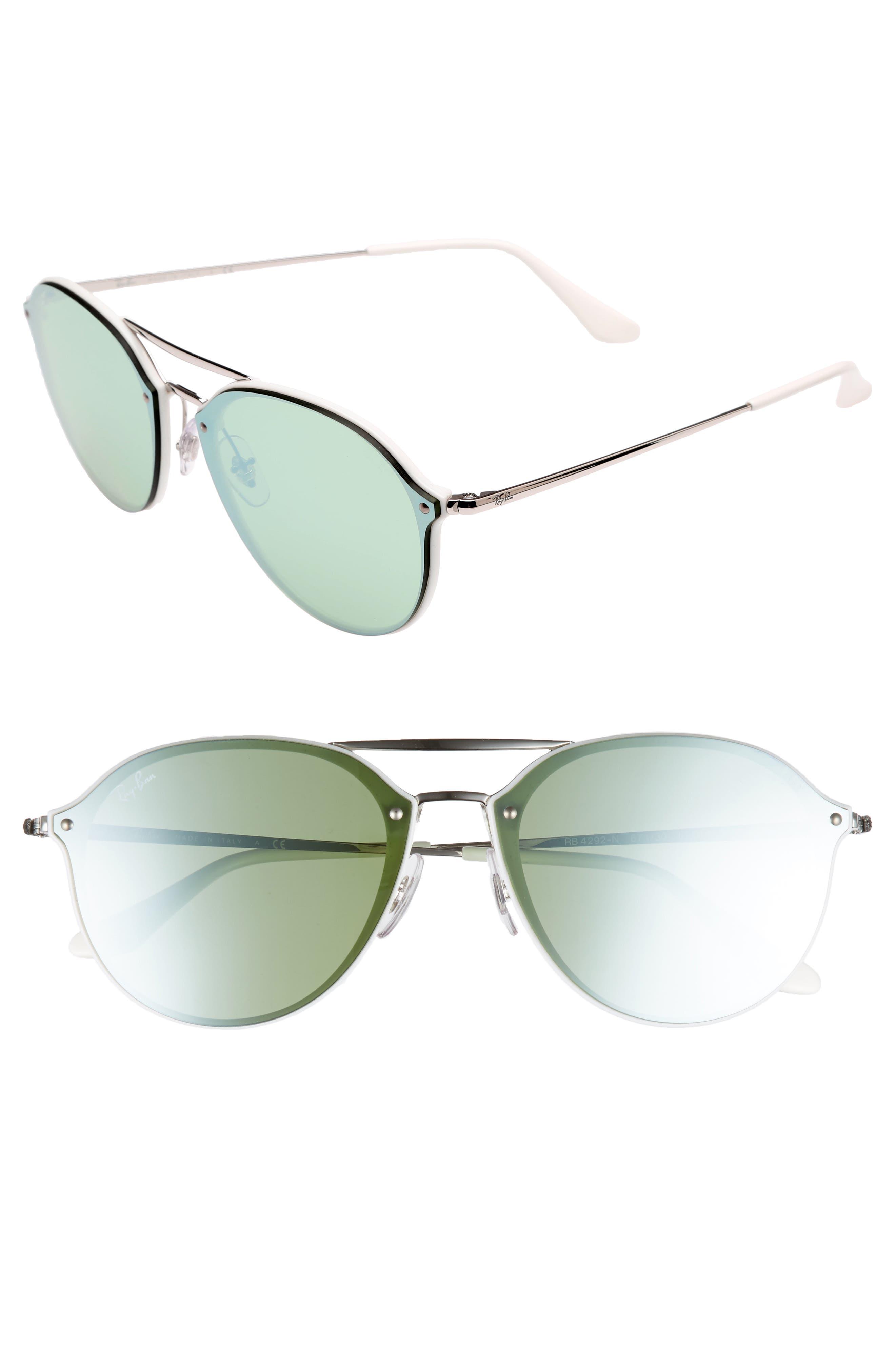 62mm Mirrored Lens Aviator Sunglasses,                         Main,                         color, 100
