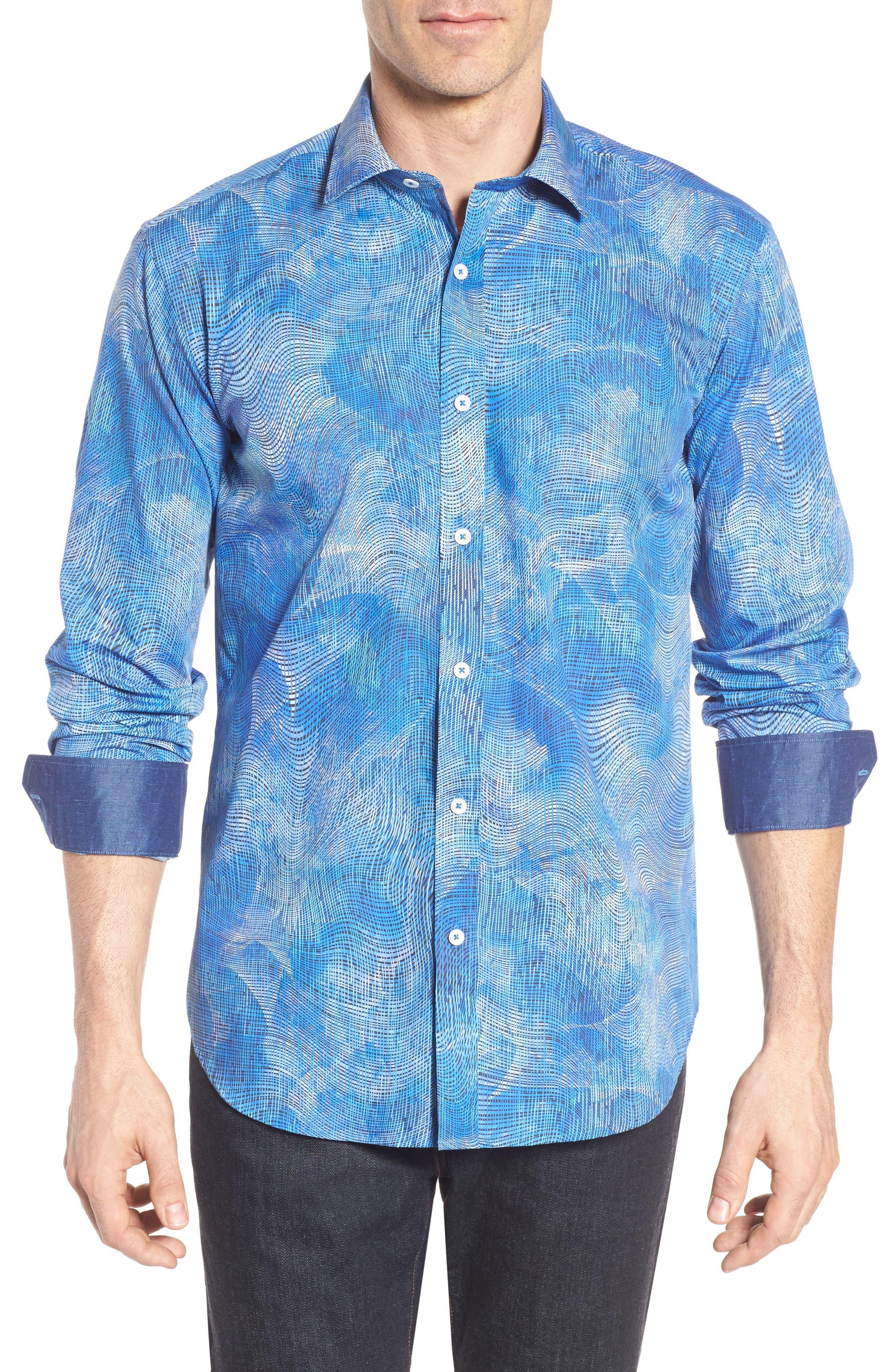 Shaped Fit Print Sport Shirt,                         Main,                         color, 424