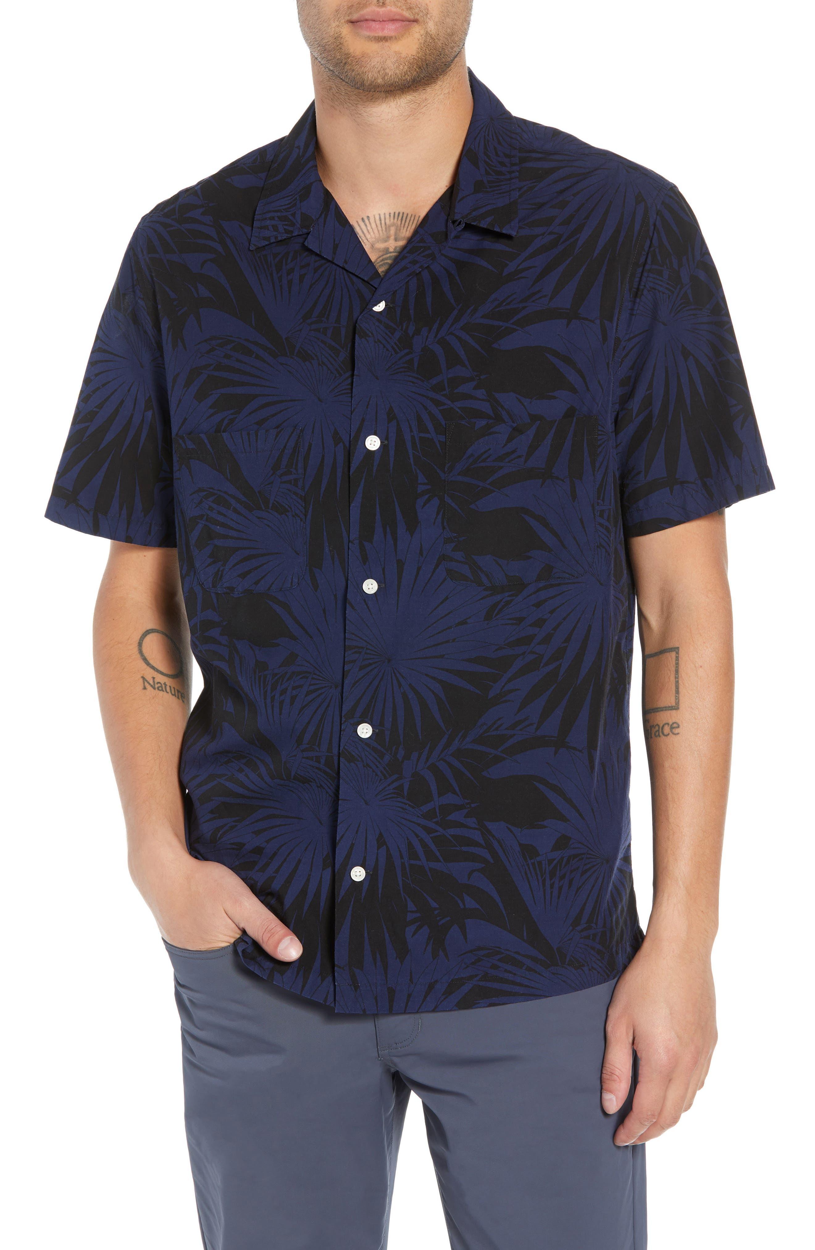 Palm Leaf Cabana Woven Shirt,                         Main,                         color, 001