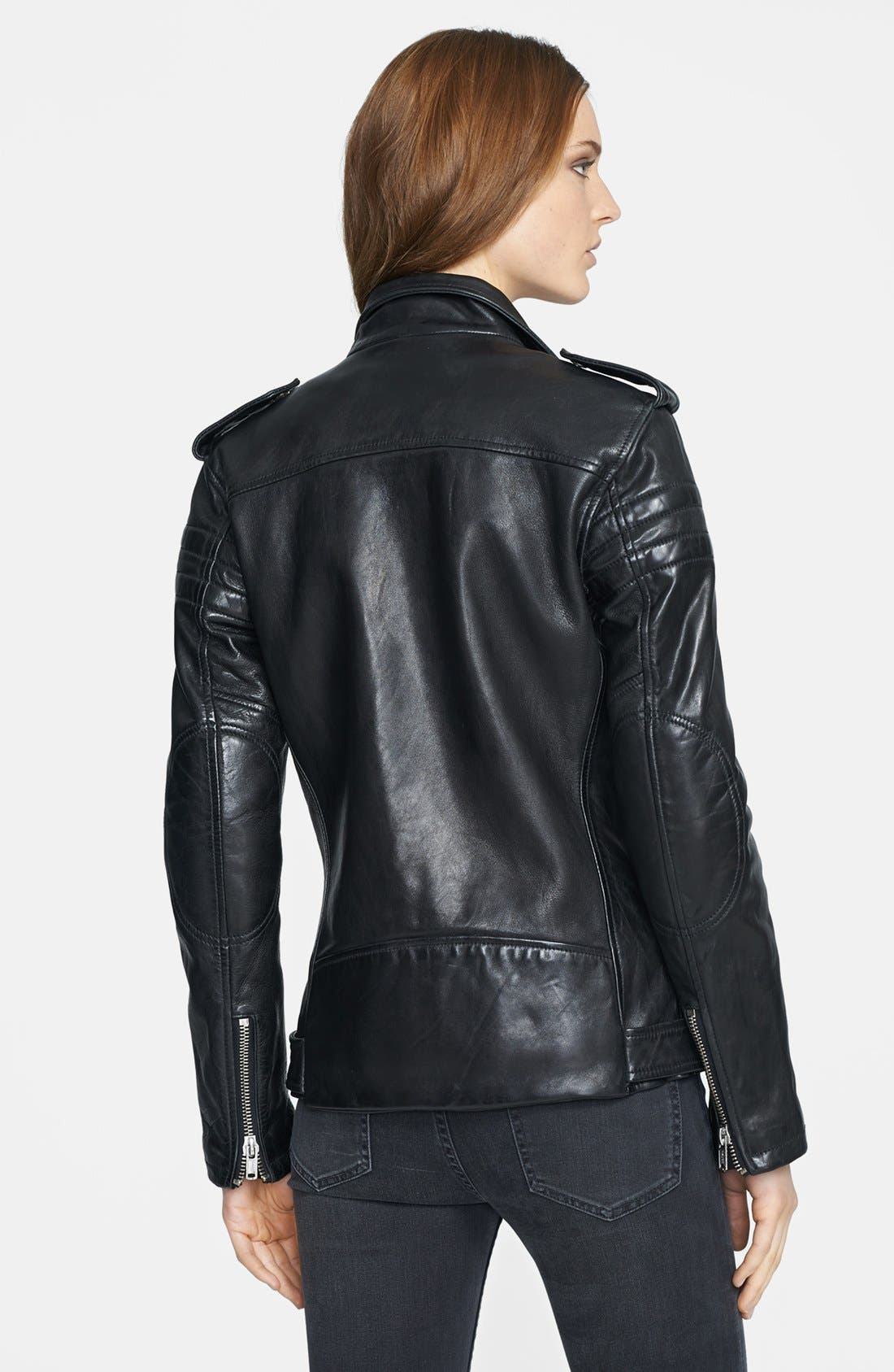 BLK DNM,                             Lambskin Leather Biker Jacket,                             Alternate thumbnail 3, color,                             001