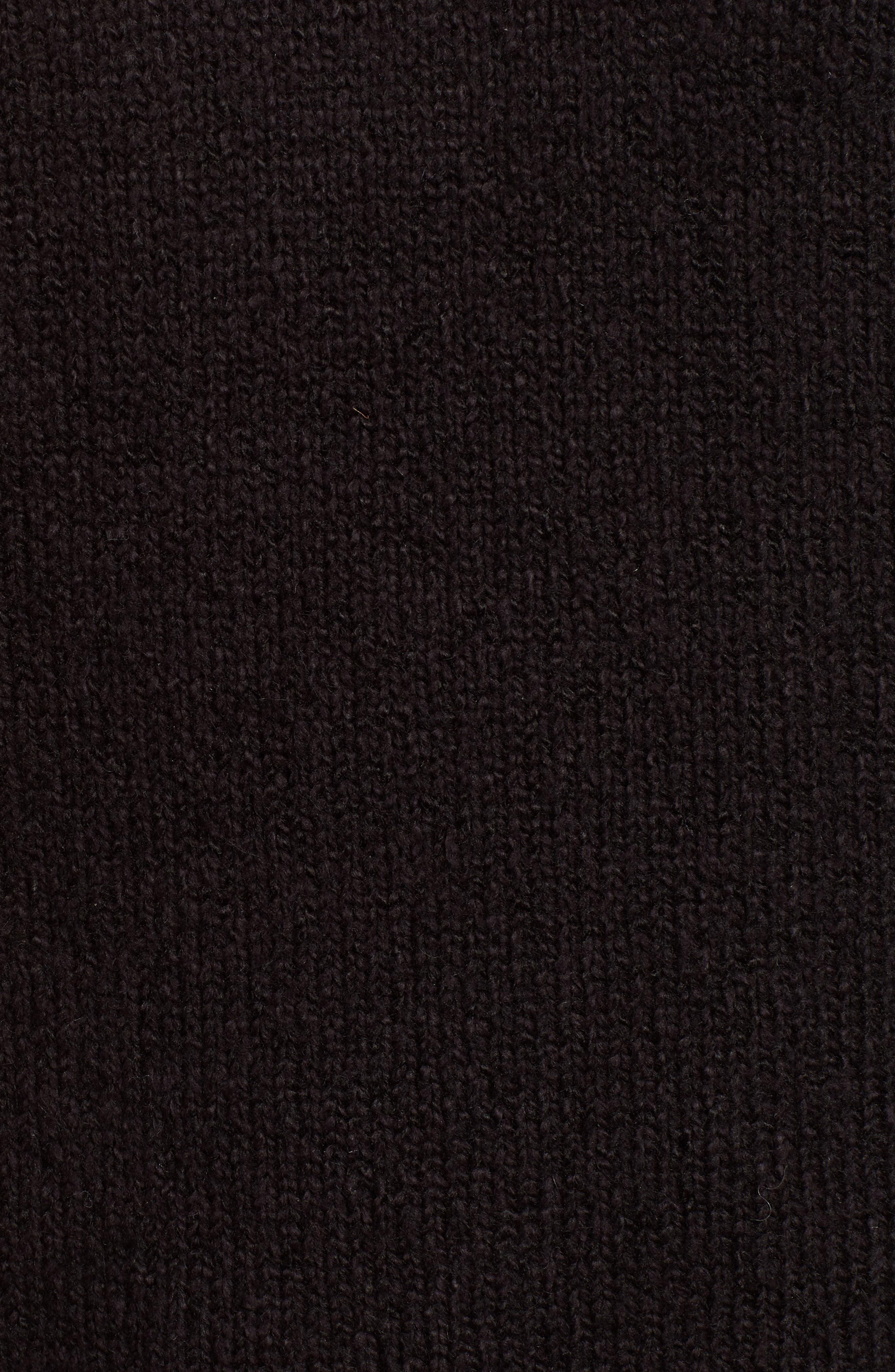 Stripe Sleeve Cotton Blend Sweater,                             Alternate thumbnail 5, color,                             BLACK