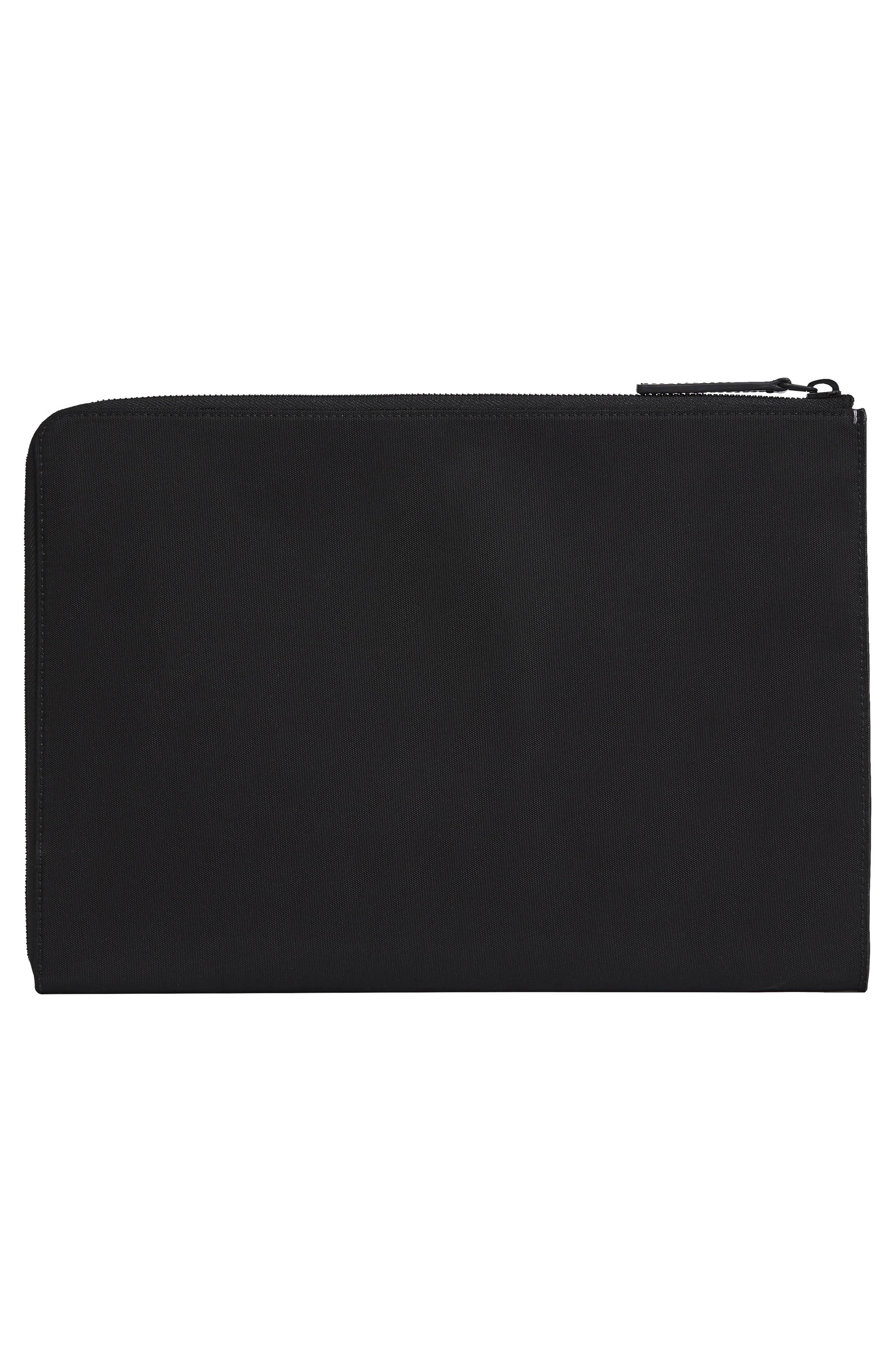 Portfolio Case,                             Alternate thumbnail 2, color,                             BLACK NYLON/ BLACK LEATHER