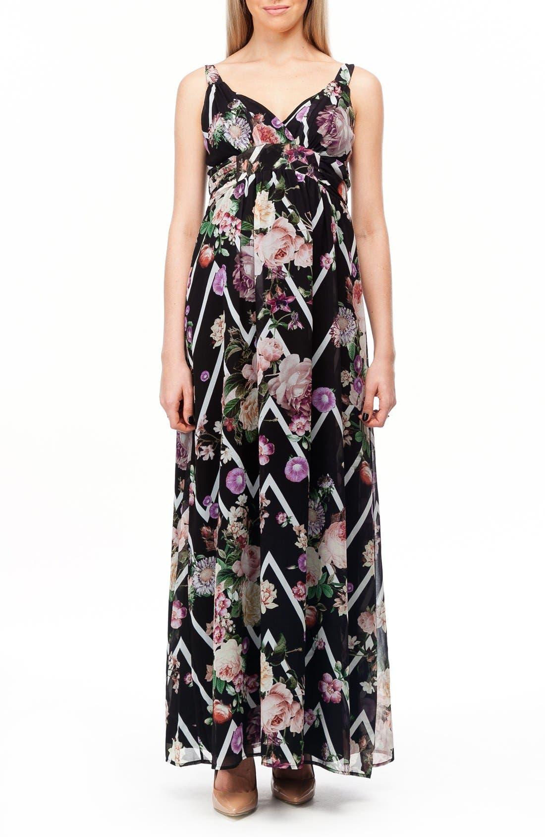 Murano Maternity Maxi Dress,                         Main,                         color, FLOWER ZIGZAG