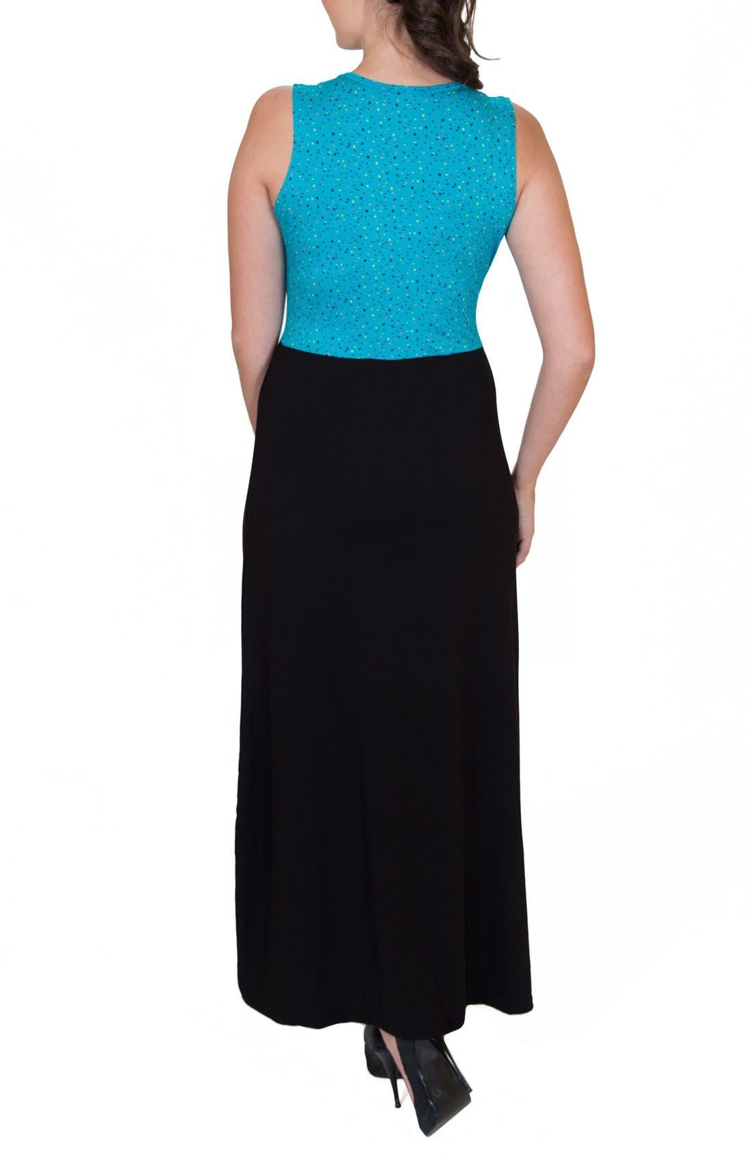 'Mariana' Maternity/Nursing Maxi Dress,                             Alternate thumbnail 2, color,                             DOTS TOP W/ BLACK SKIRT