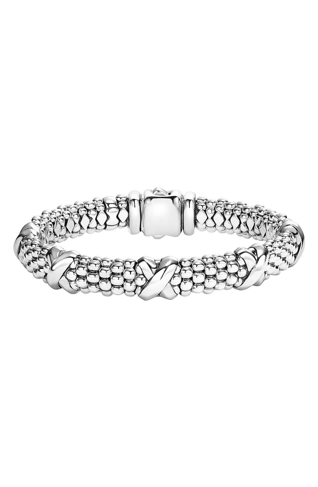 'Signature Caviar' Oval Rope Bracelet,                             Main thumbnail 1, color,                             STERLING SILVER
