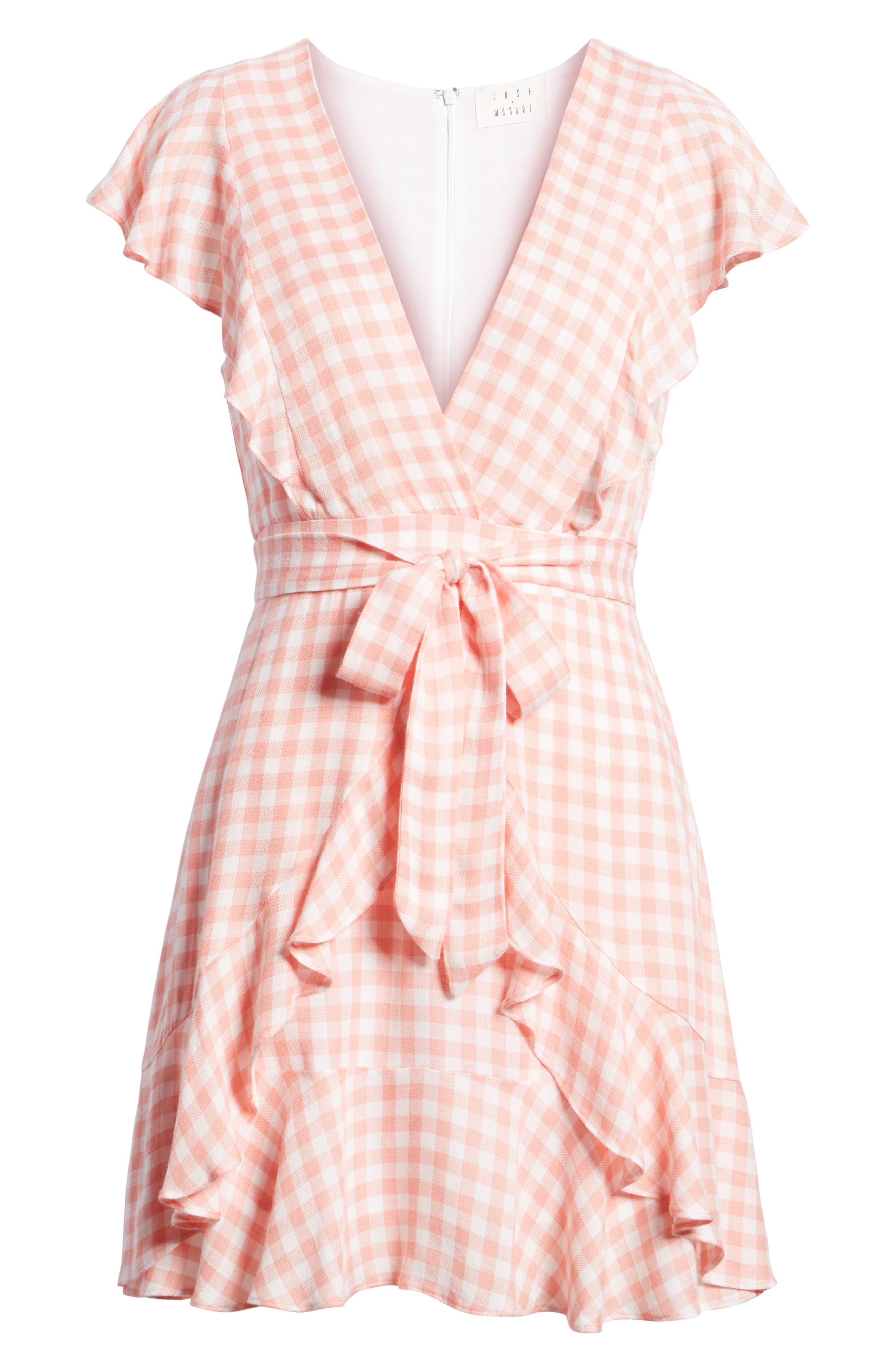 Brunch Ruffle Gingham Dress,                             Alternate thumbnail 8, color,                             693