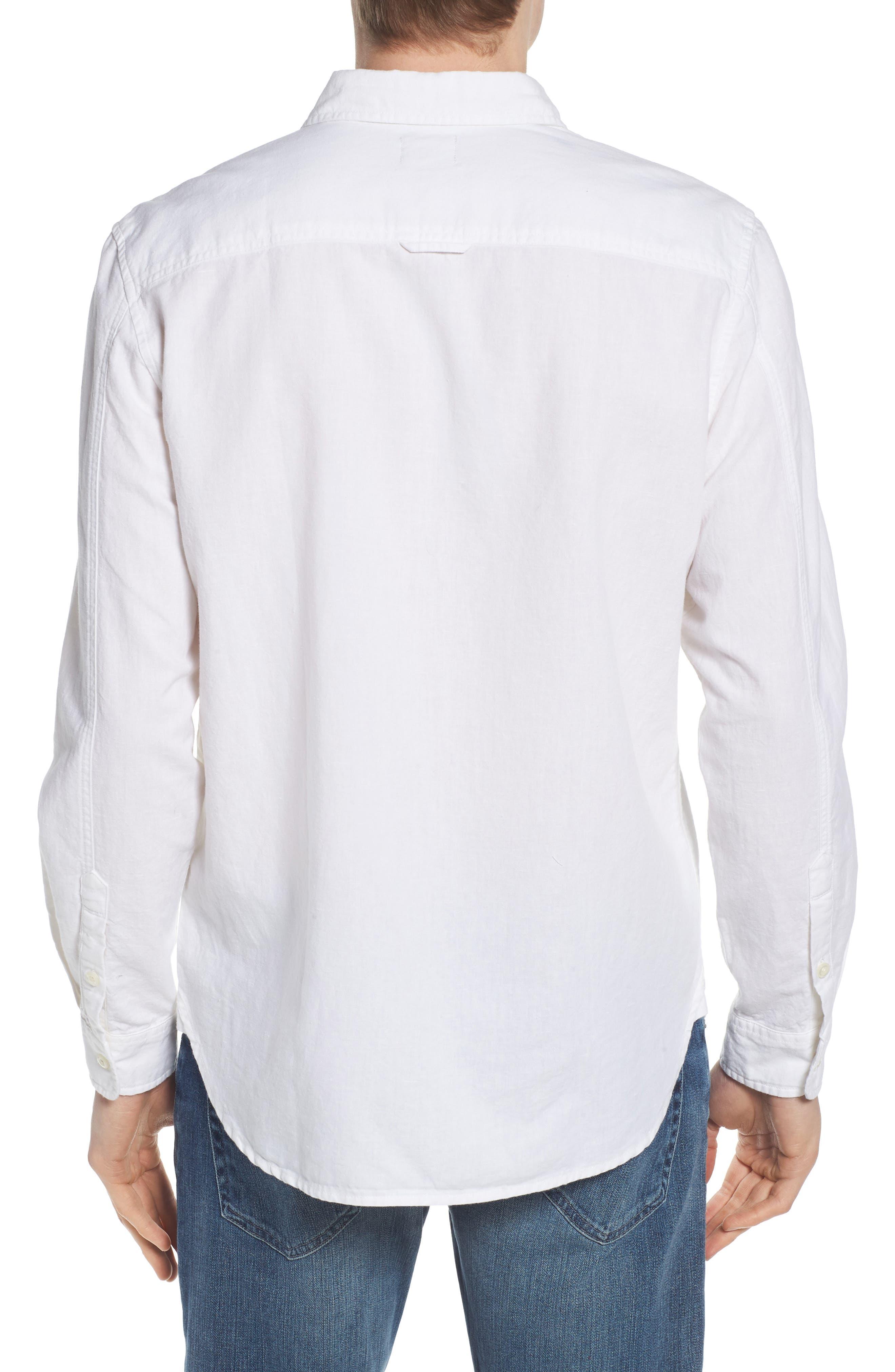 Colton Regular Fit Cotton & Linen Sport Shirt,                             Alternate thumbnail 2, color,                             TRUE WHITE