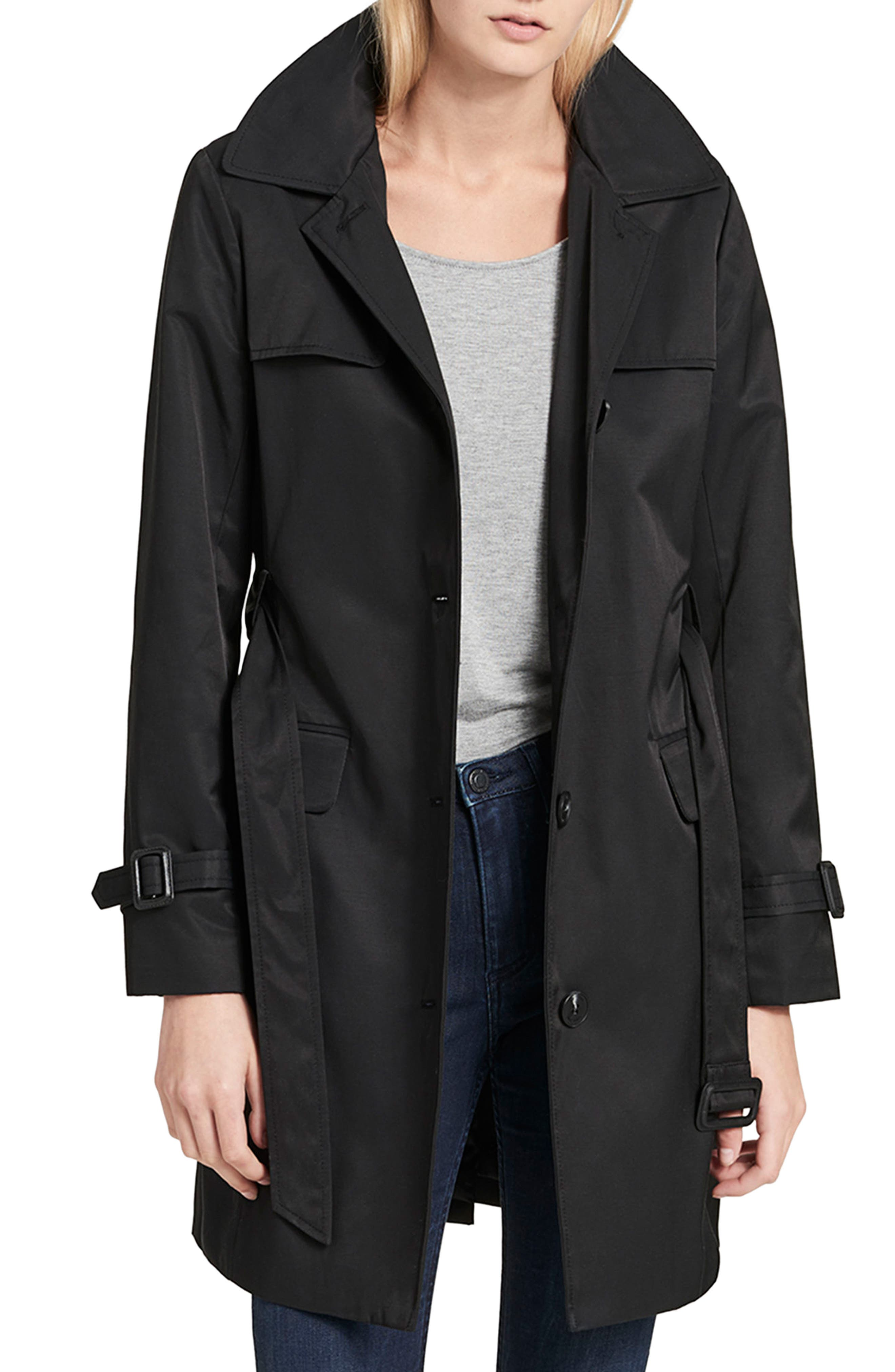 Water Resistant Belted Trench Coat,                             Main thumbnail 1, color,                             001