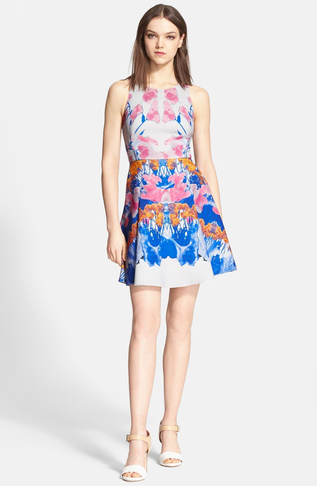 'Hannah' Print Scuba Knit Fit & Flares Dress,                             Main thumbnail 1, color,                             650