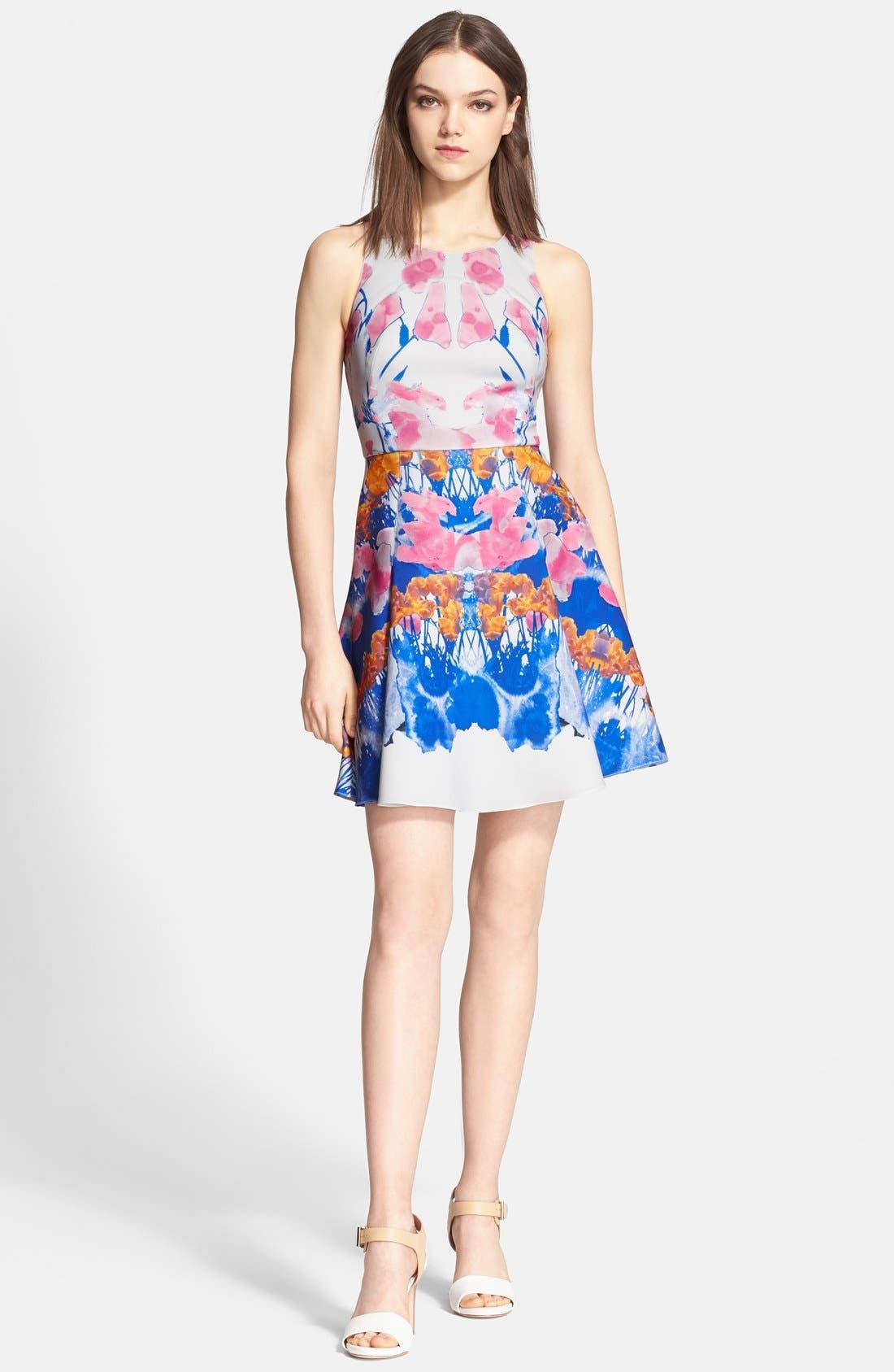 'Hannah' Print Scuba Knit Fit & Flares Dress, Main, color, 650
