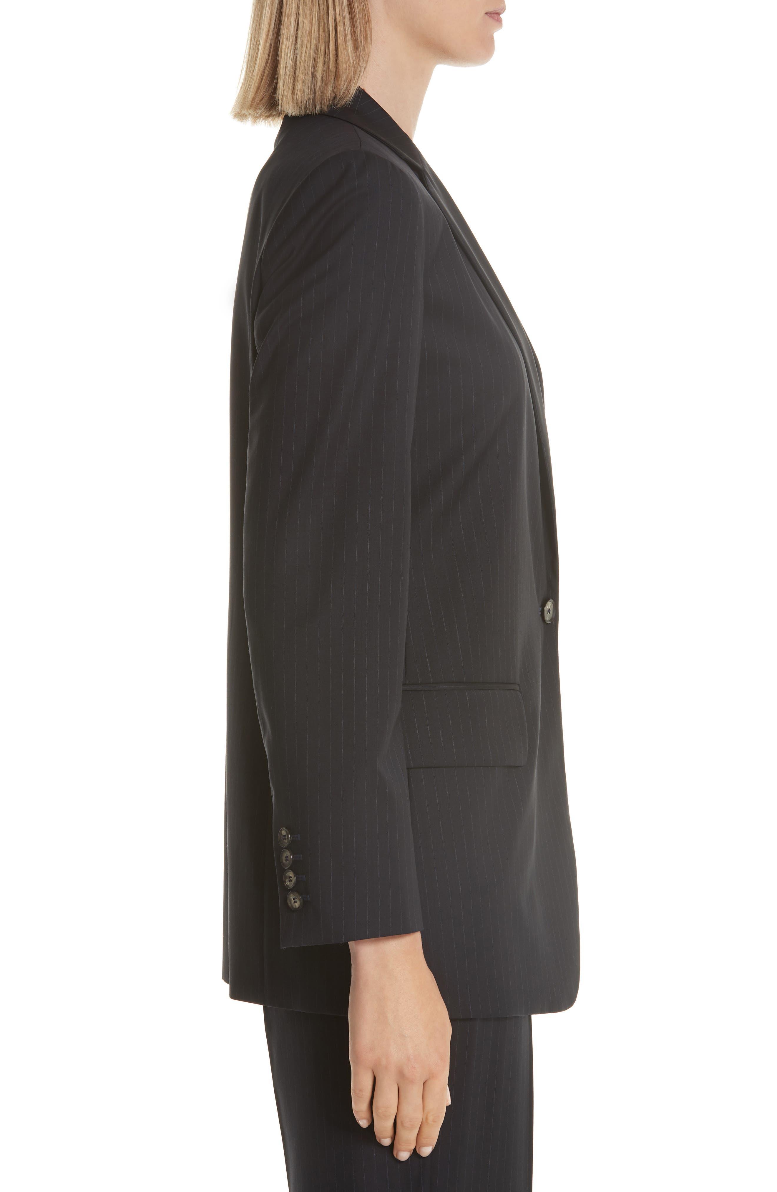 MAX MARA,                             Laser Single Button Wool Jacket,                             Alternate thumbnail 3, color,                             ULTRAMARINE