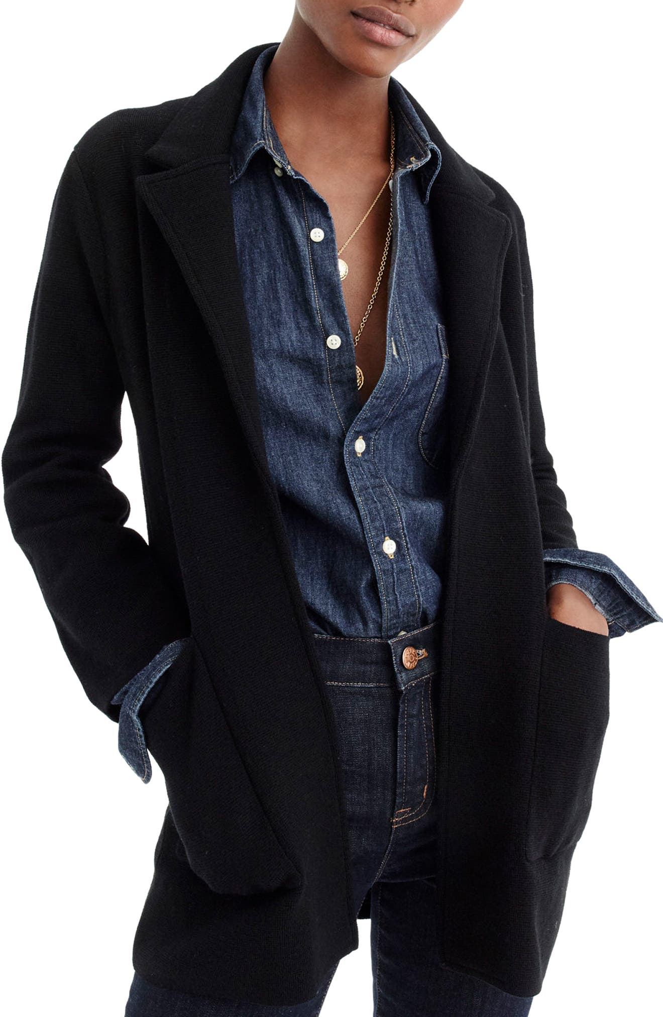 Open Front Sweater Blazer,                             Main thumbnail 1, color,