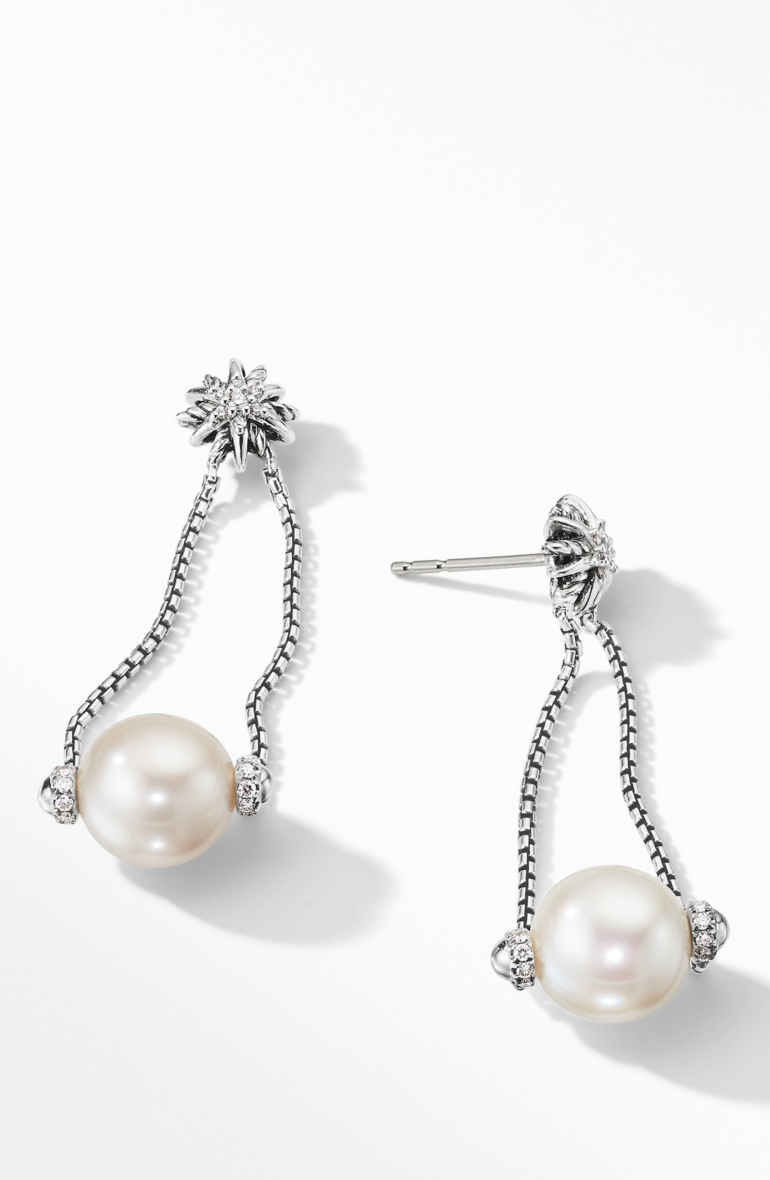 Starburst Pearl Drop Earrings with Diamonds,                             Alternate thumbnail 2, color,                             PEARL