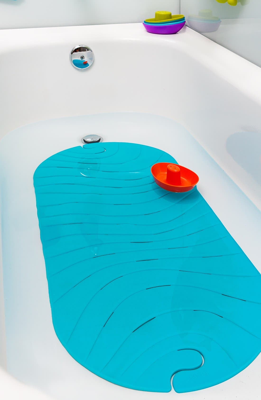 'Ripple' Bathtub Mat,                             Alternate thumbnail 4, color,                             BLUE