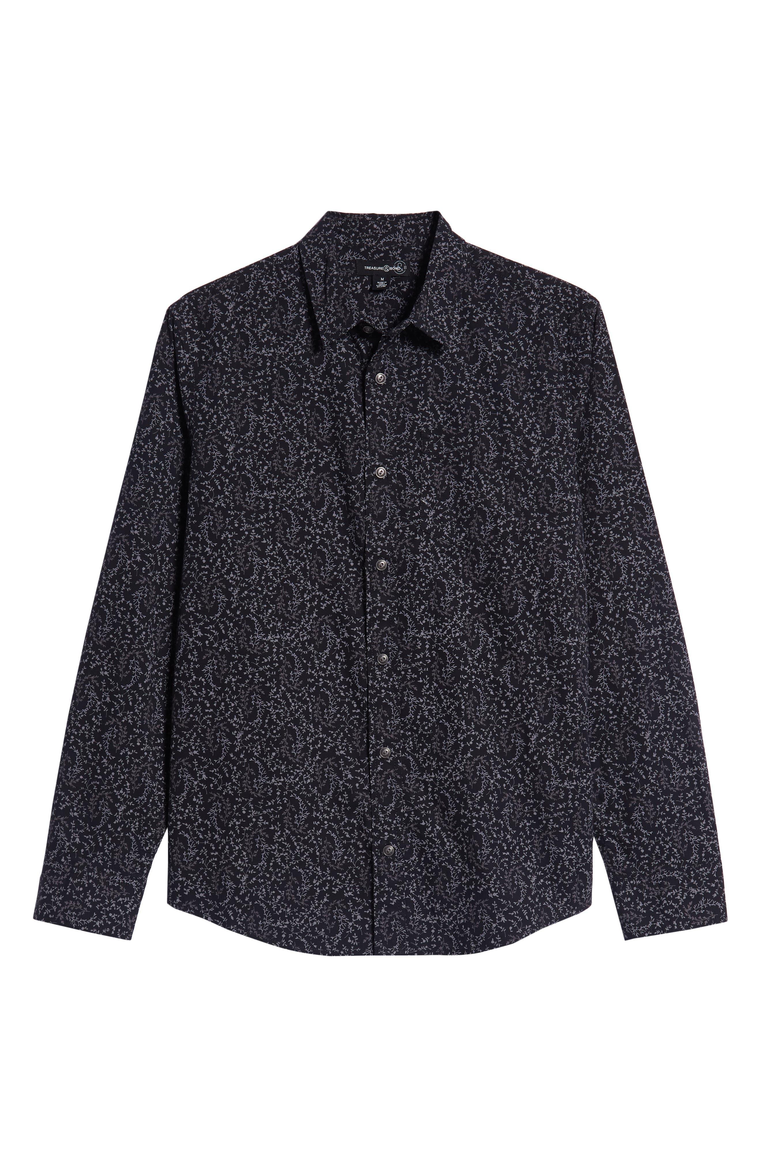 Regular Fit Print Sport Shirt,                             Alternate thumbnail 6, color,                             BLACK ROCK TUMBLEWEED