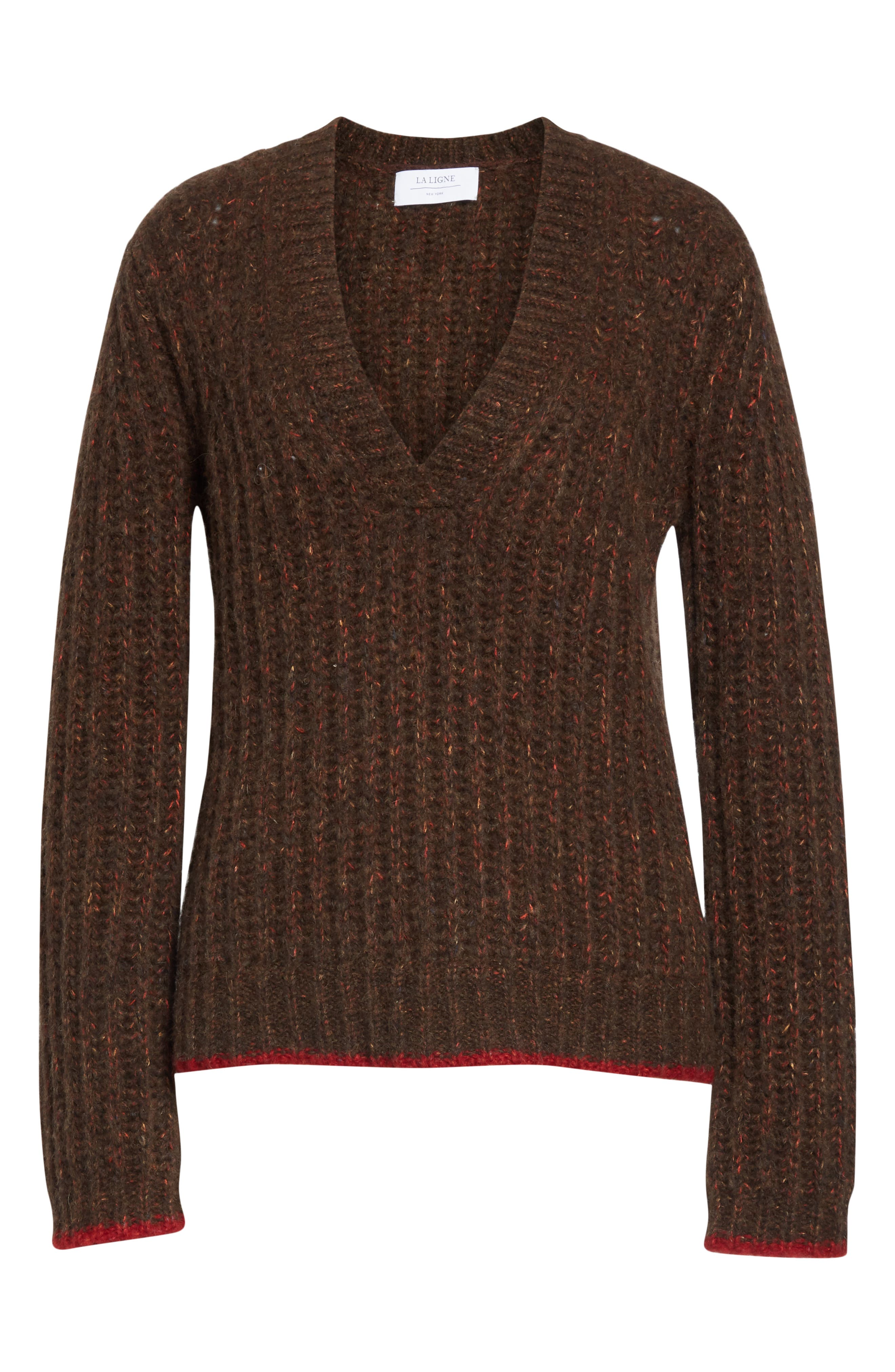 Oversize V-Neck Sweater,                             Alternate thumbnail 6, color,                             BROWN / RED