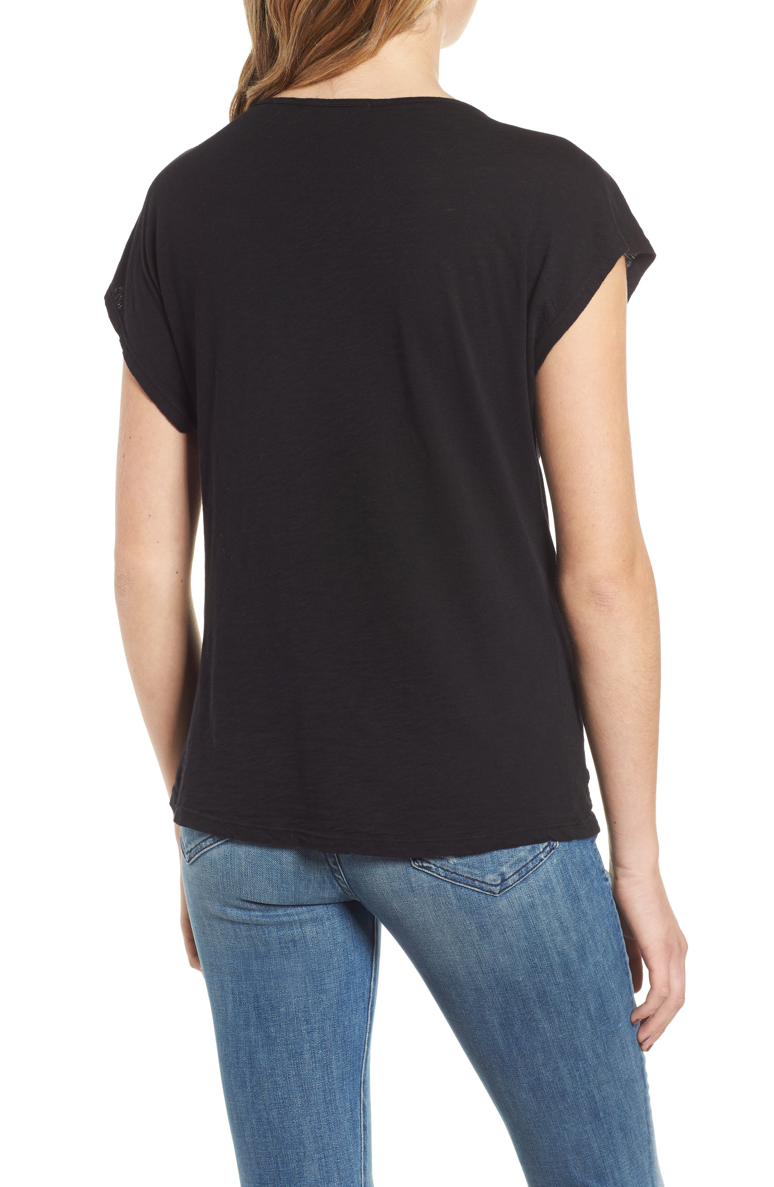 Twist Neck Tee,                             Alternate thumbnail 2, color,                             BLACK