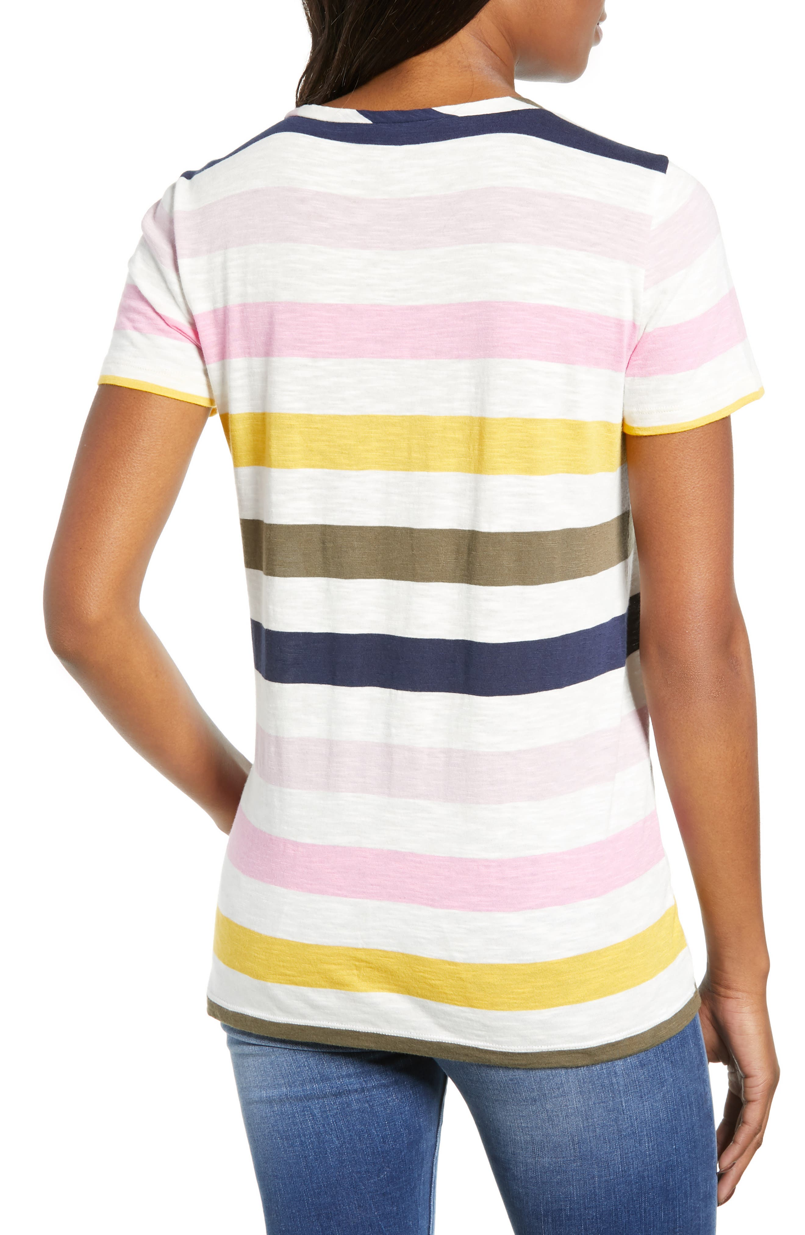 CASLON<SUP>®</SUP>,                             Rounded V-Neck Tee,                             Alternate thumbnail 2, color,                             PINK S- NAVY P NOMAD STRIPE