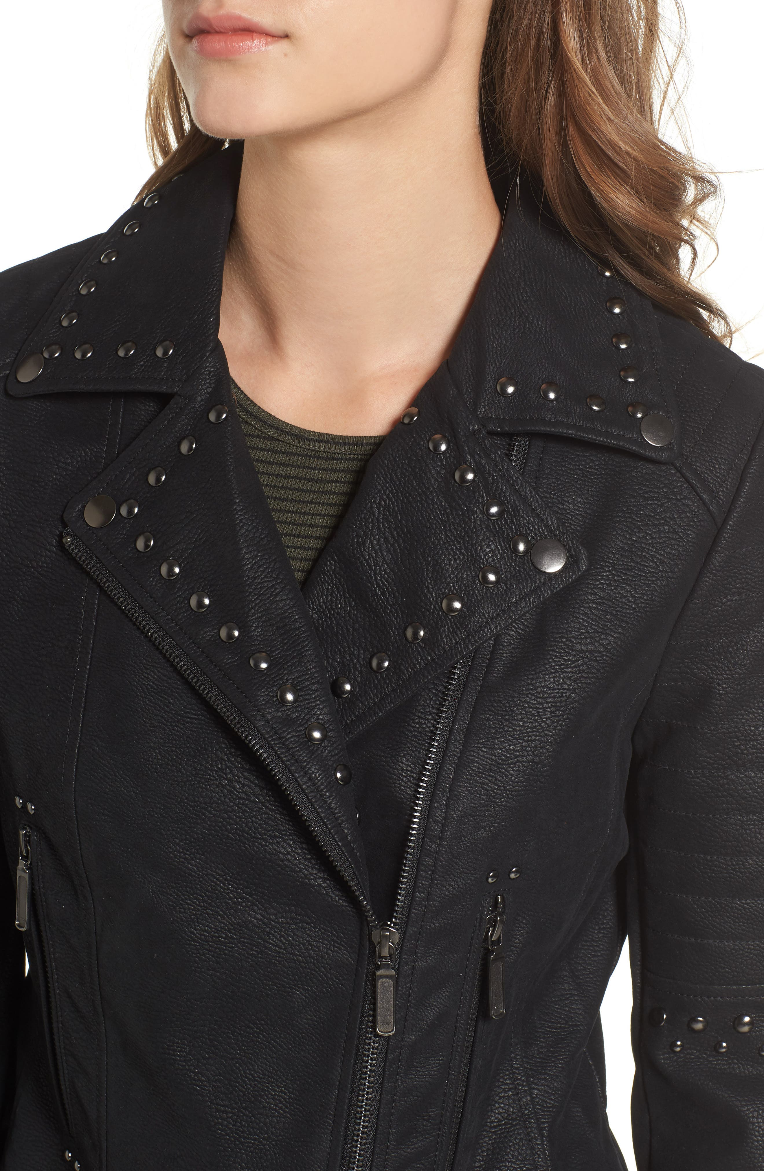 Studded Faux Leather Moto Jacket,                             Alternate thumbnail 4, color,                             001