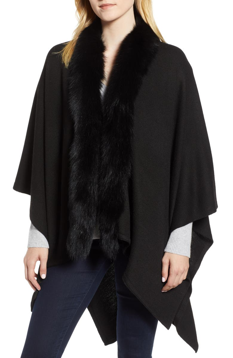 Wool Blend Wrap with Genuine Fox Fur Trim,                         Main,                         color, BLACK
