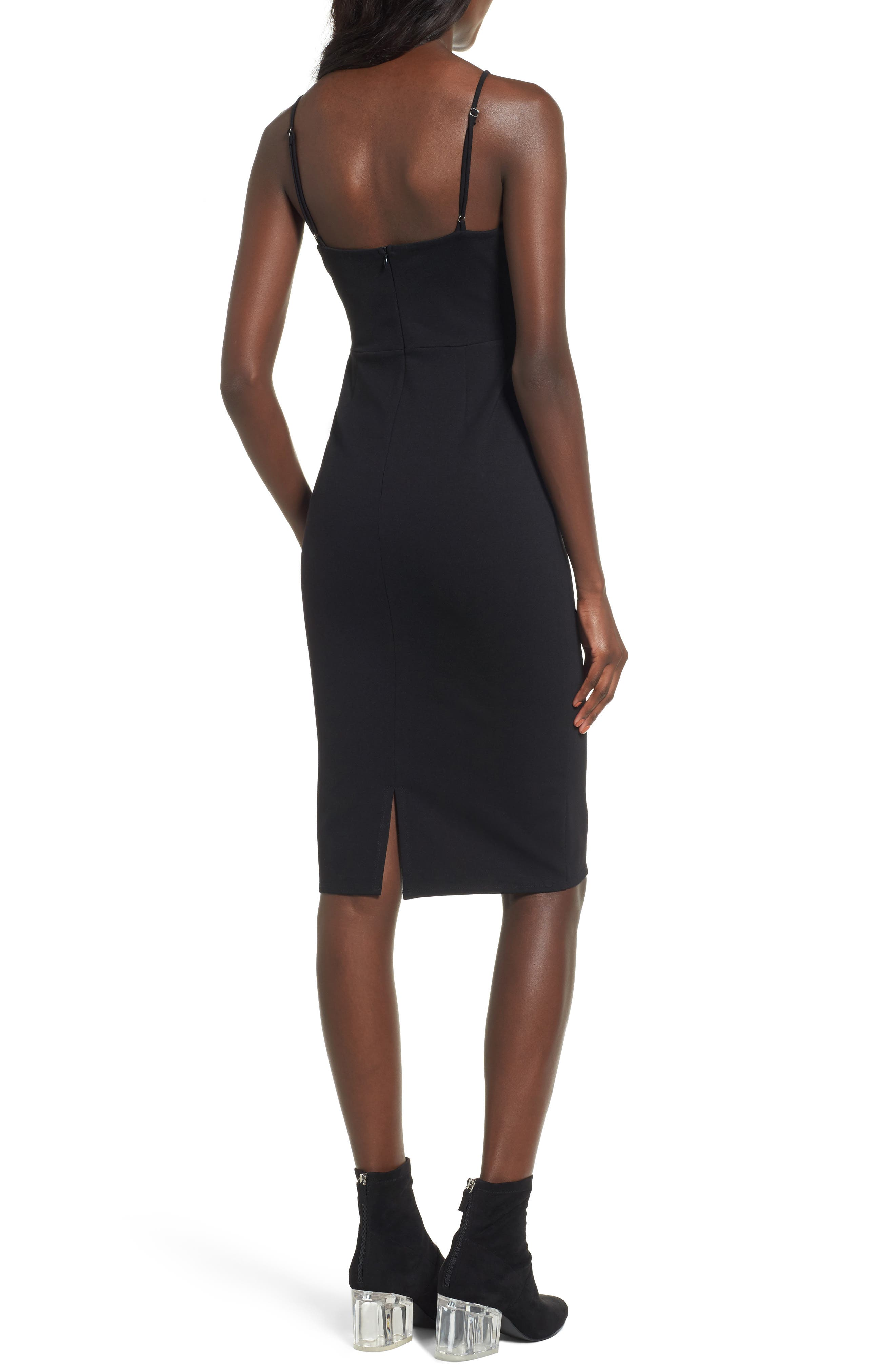 Corset Detail Body-Con Dress,                             Alternate thumbnail 2, color,                             001