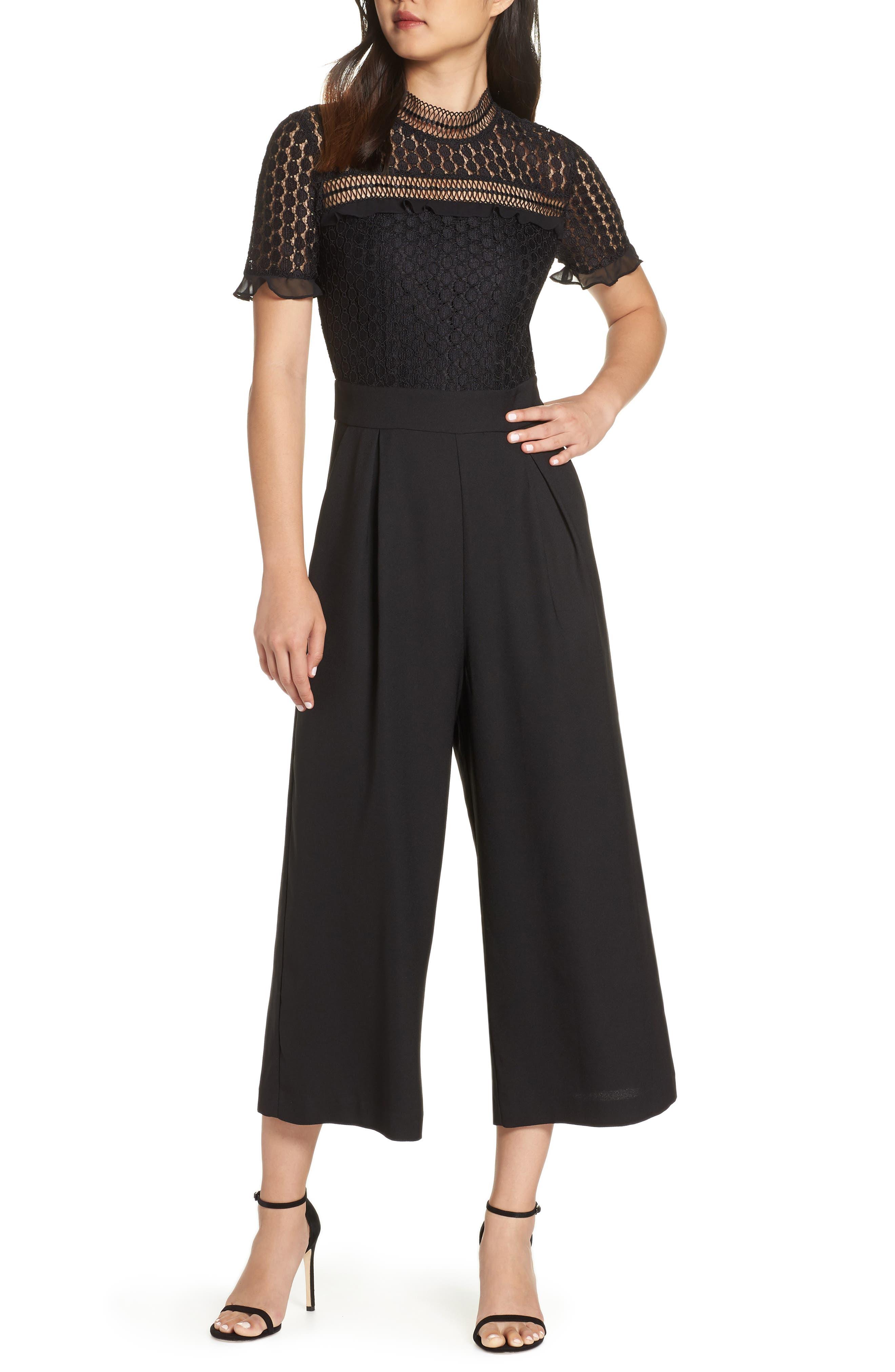 Lace Cropped Jumpsuit,                             Main thumbnail 1, color,                             BLACK