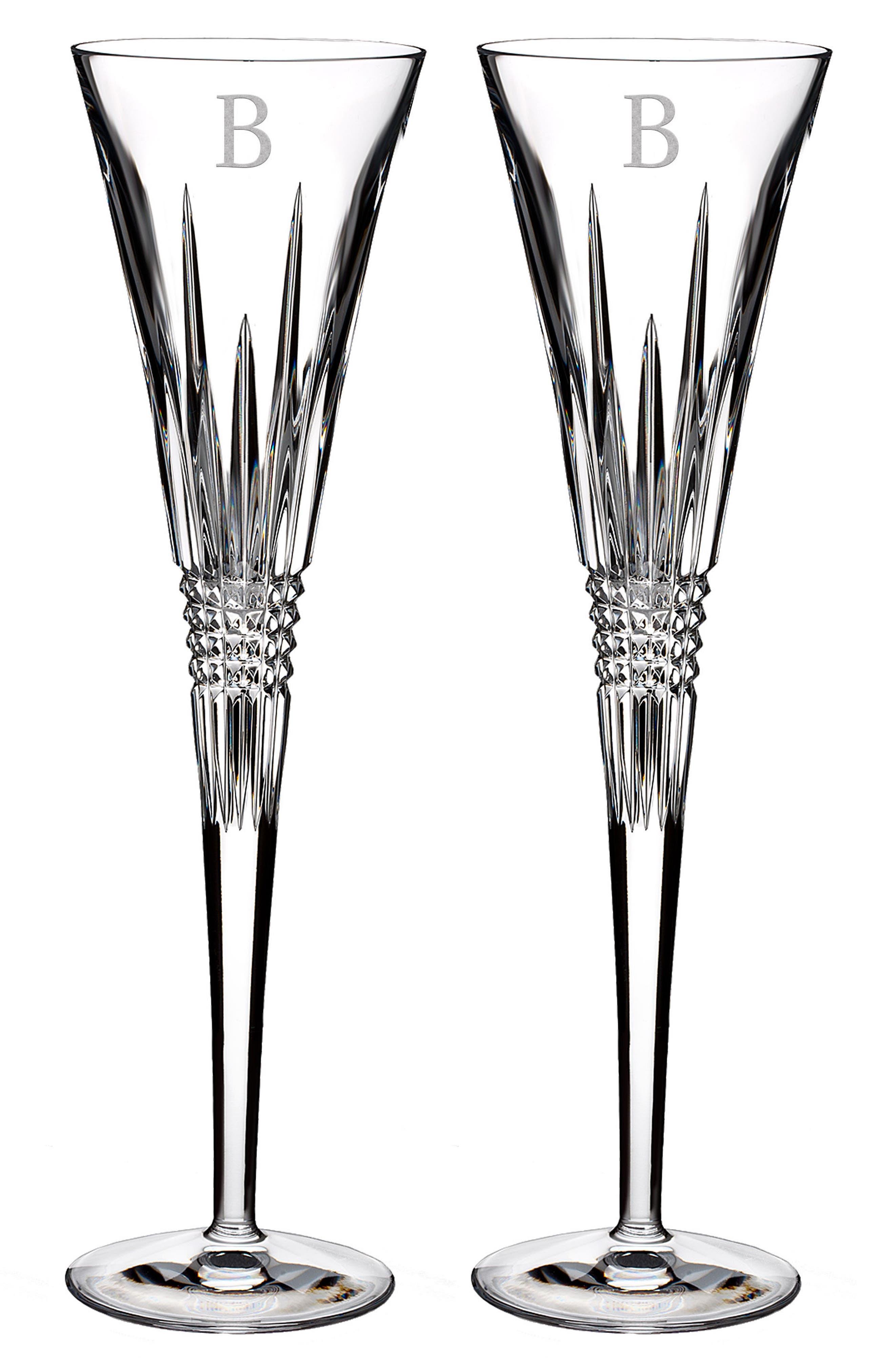 Lismore Diamond Set of 2 Monogram Lead Crystal Champagne Flutes,                             Main thumbnail 1, color,                             CLEAR - B