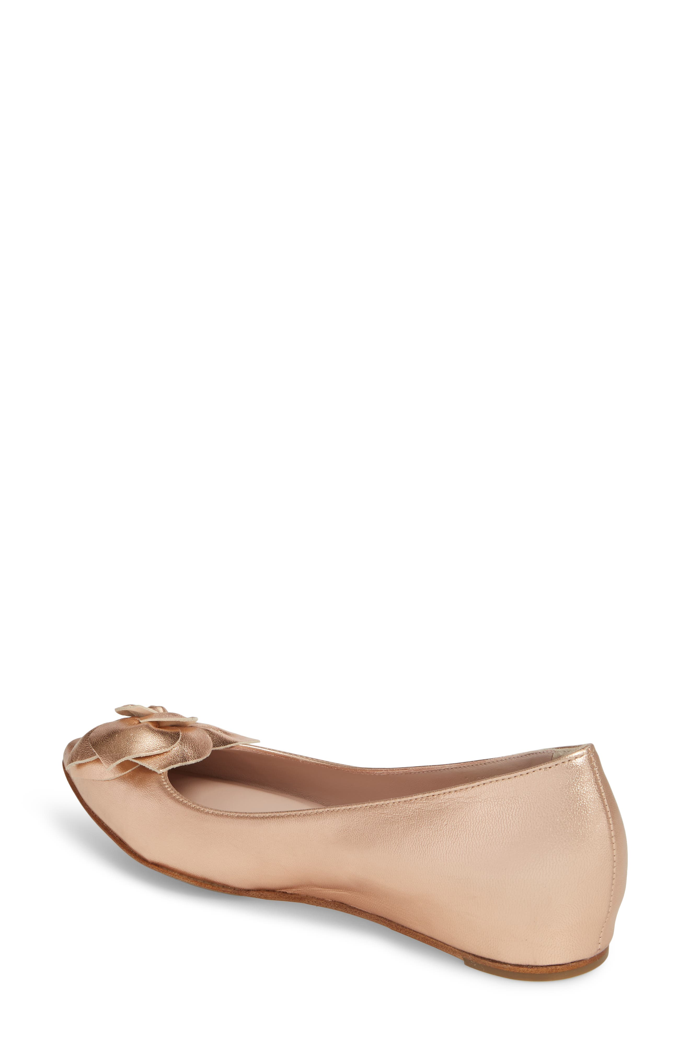 Rialta Flat,                             Alternate thumbnail 2, color,                             ROSE GOLD LEATHER