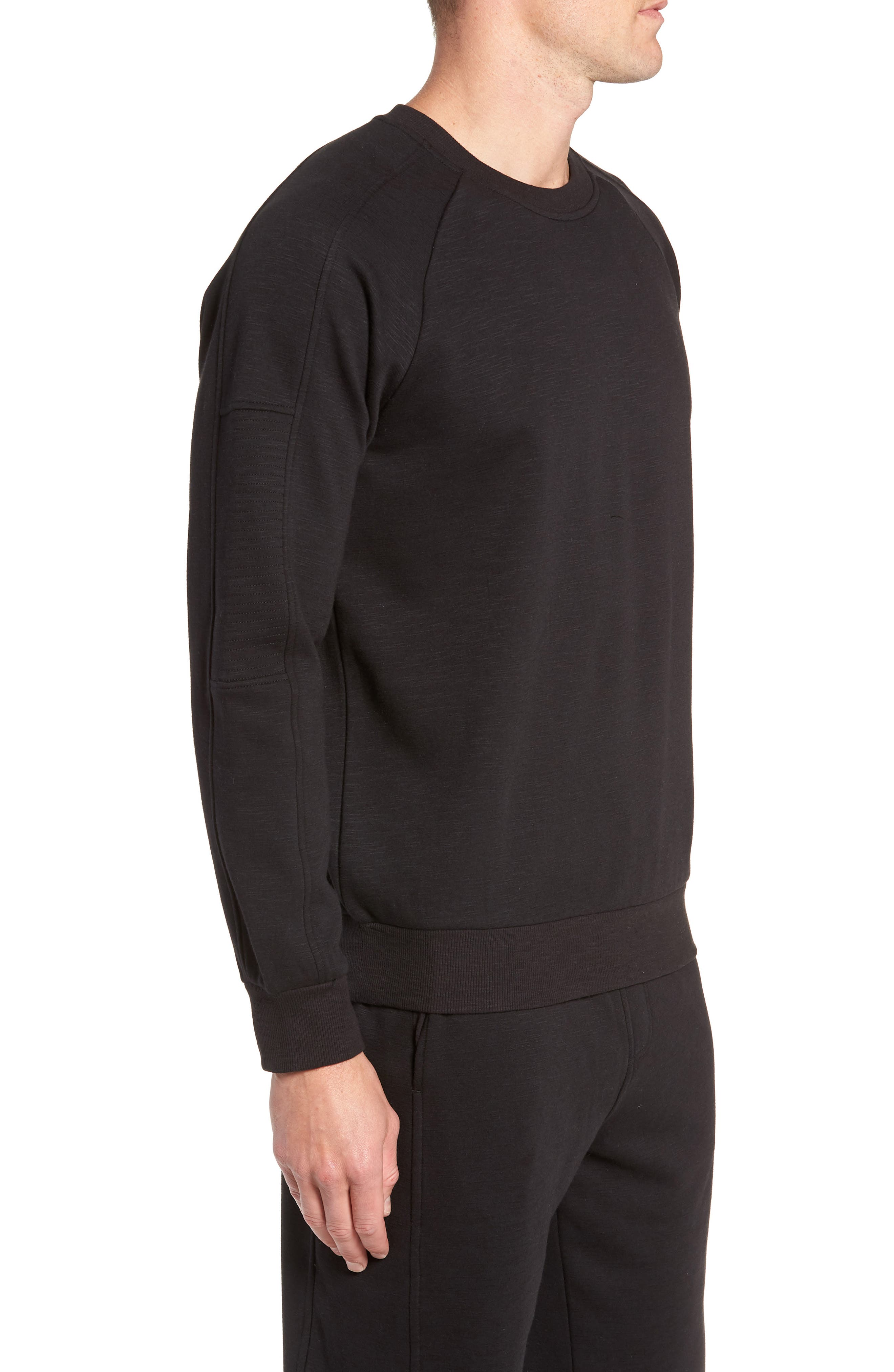 French Terry Moto Pullover,                             Alternate thumbnail 3, color,                             BLACK HEATHER