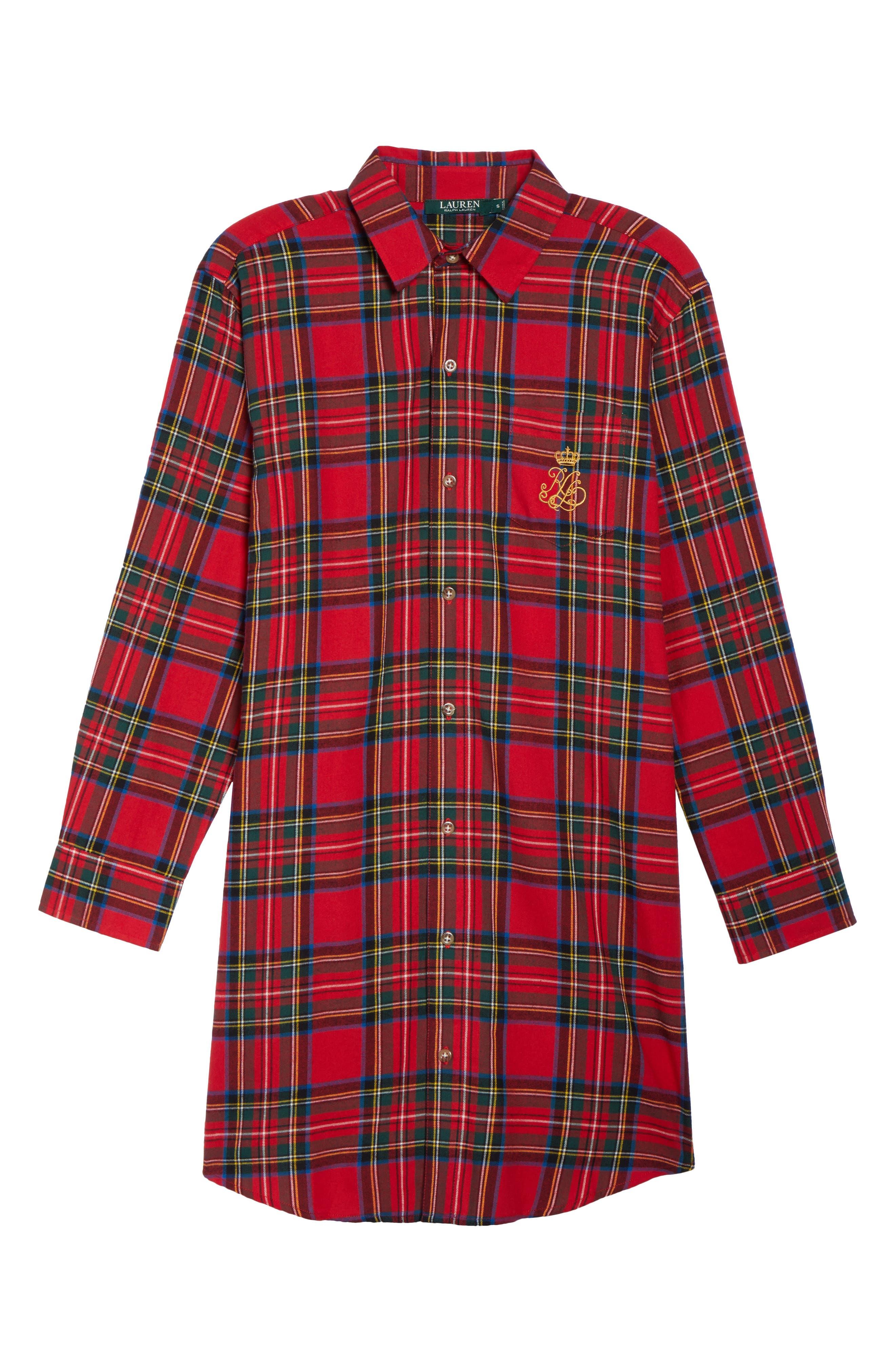 Flannel Sleep Shirt,                             Alternate thumbnail 22, color,