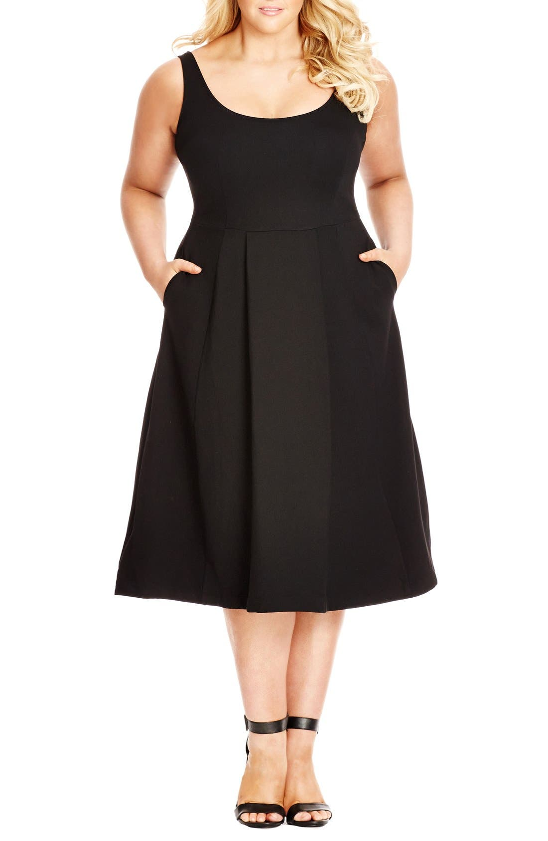 Classic Longline Scoop Neck Midi Dress,                             Main thumbnail 1, color,                             BLACK